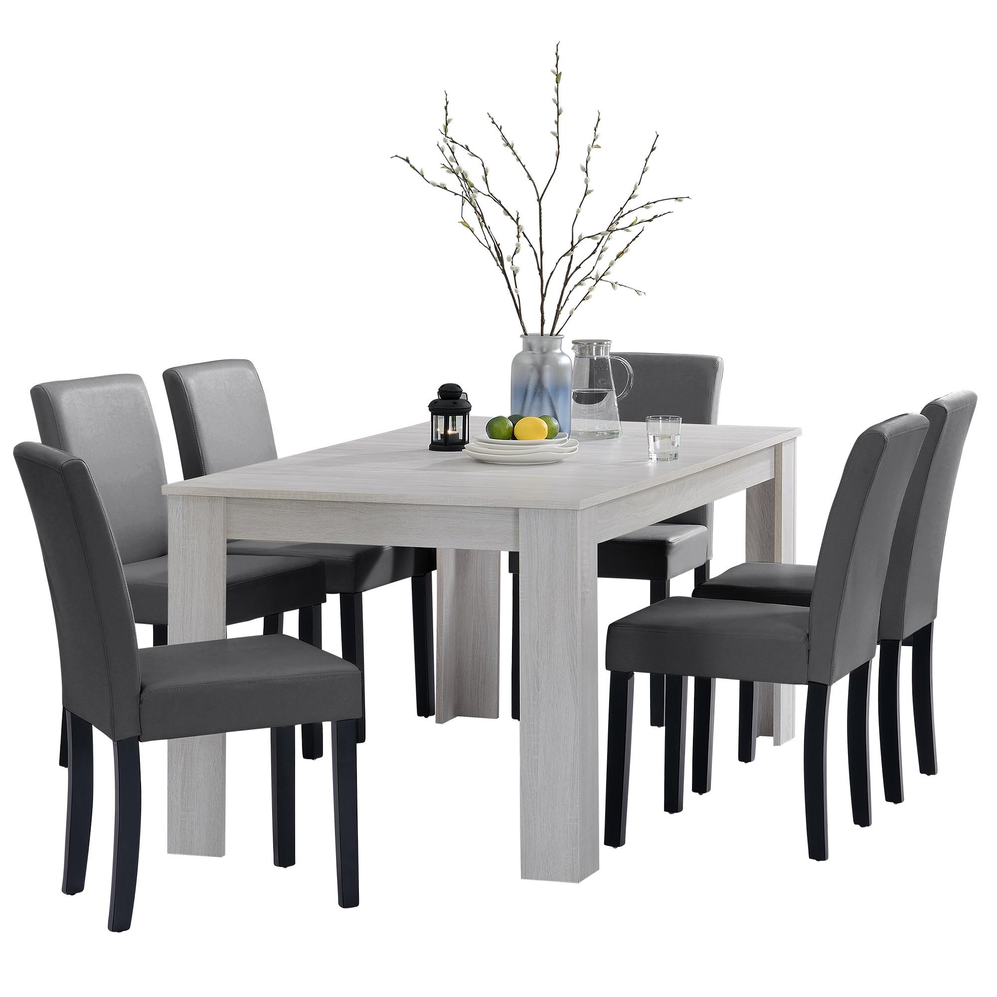 [en.casa]® Jídelní sestava 1 x stůl HTFU2336 + 6 x židle HTMY-9703