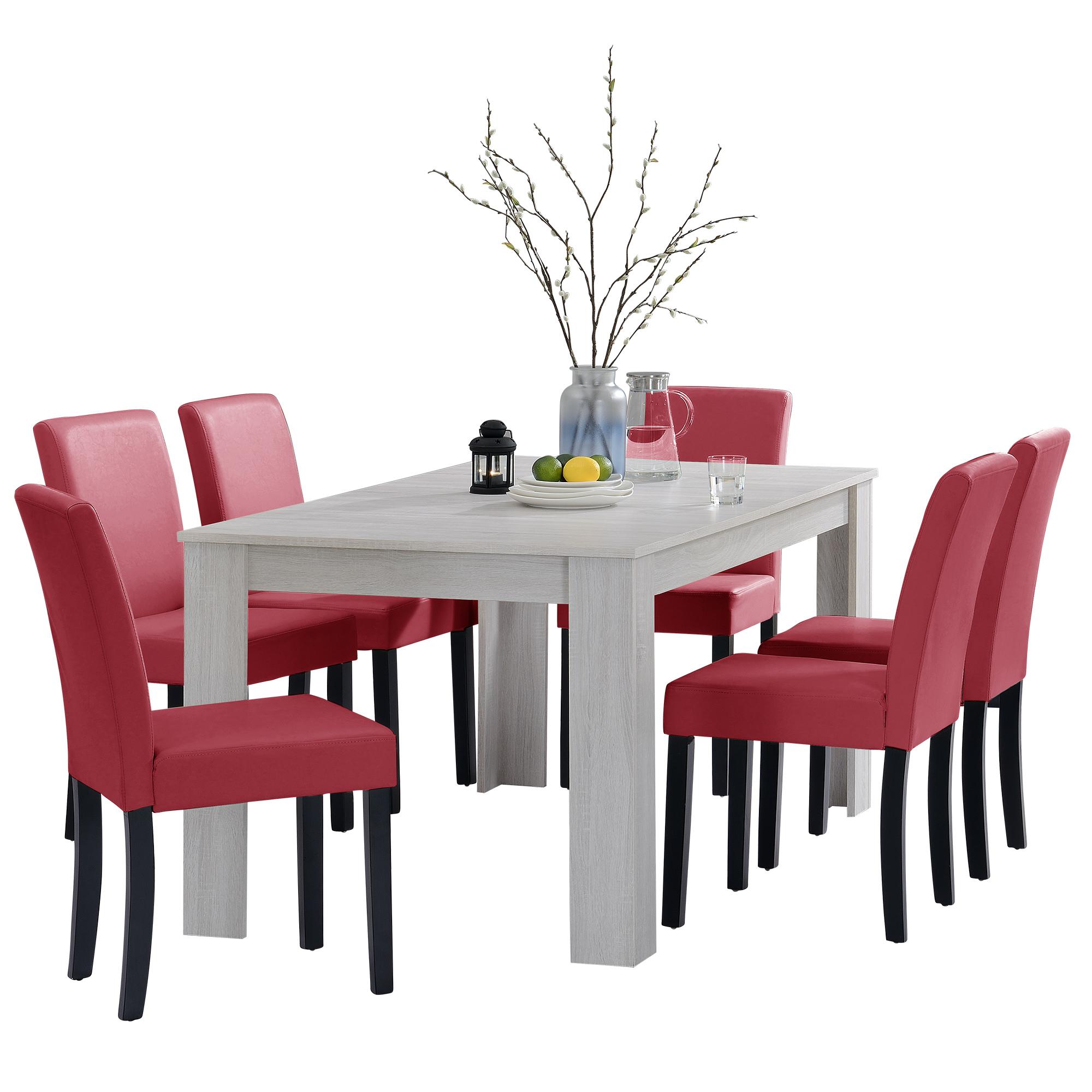 [en.casa]® Jídelní sestava 1 x stůl HTFU2336 + 6 x židle HTMY-9702