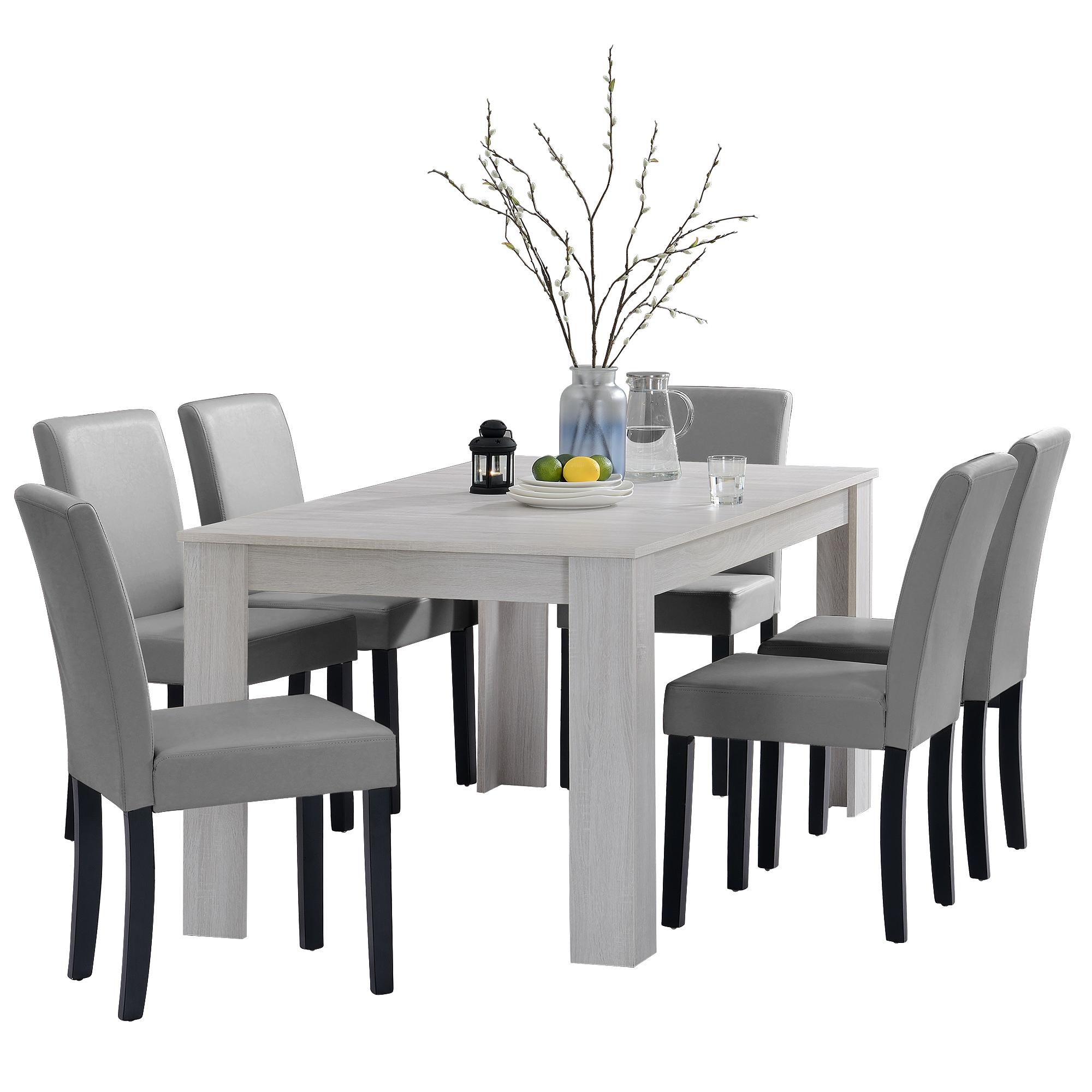 [en.casa]® Jídelní sestava 1 x stůl HTFU2336 + 6 x židle HTMY-9701