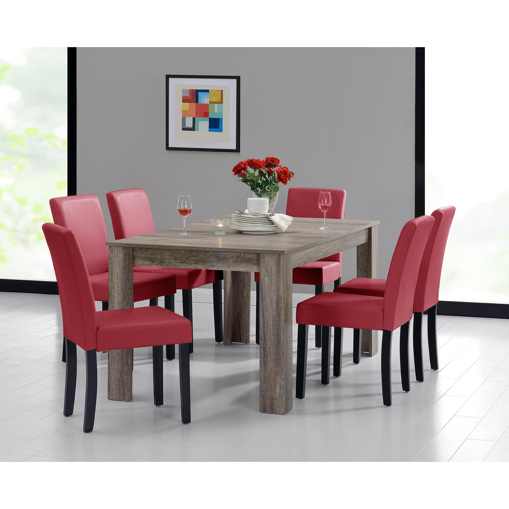 Tavolo da Pranzo 160x90 Rovere Scuro + 6 Sedie Rosso Sala Gruppo ...