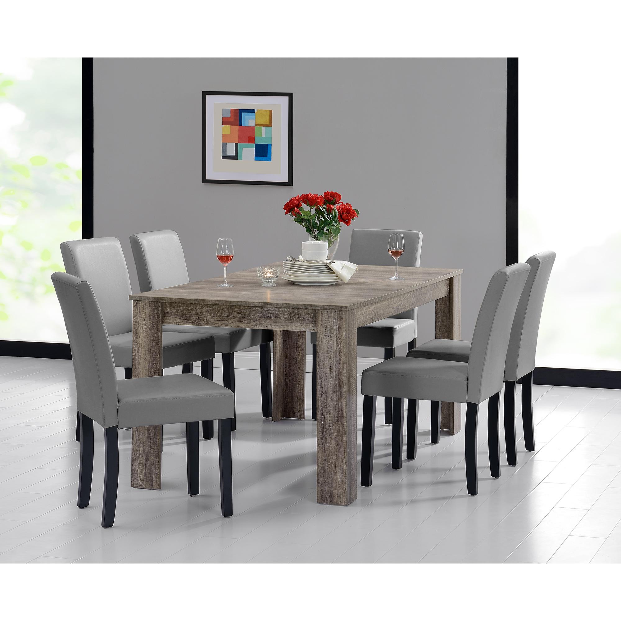 [en.casa]® Jídelní sestava 1 x stůl HTFU2337 + 6 x židle HTMY-9701