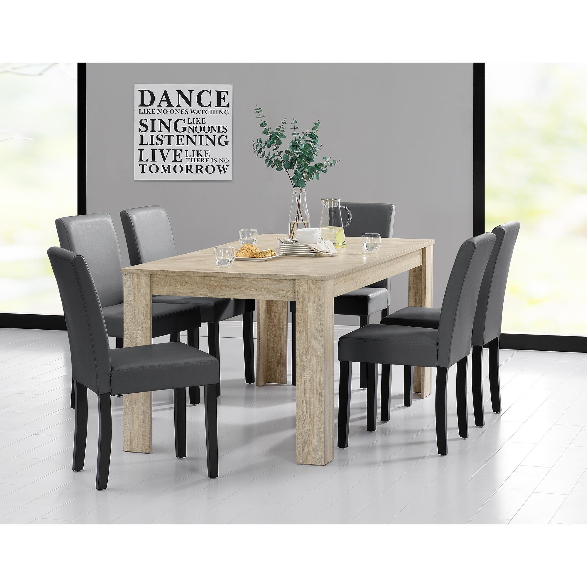 Table de salle manger 160x90 ch ne clair 6 for Table de salle a manger gris clair