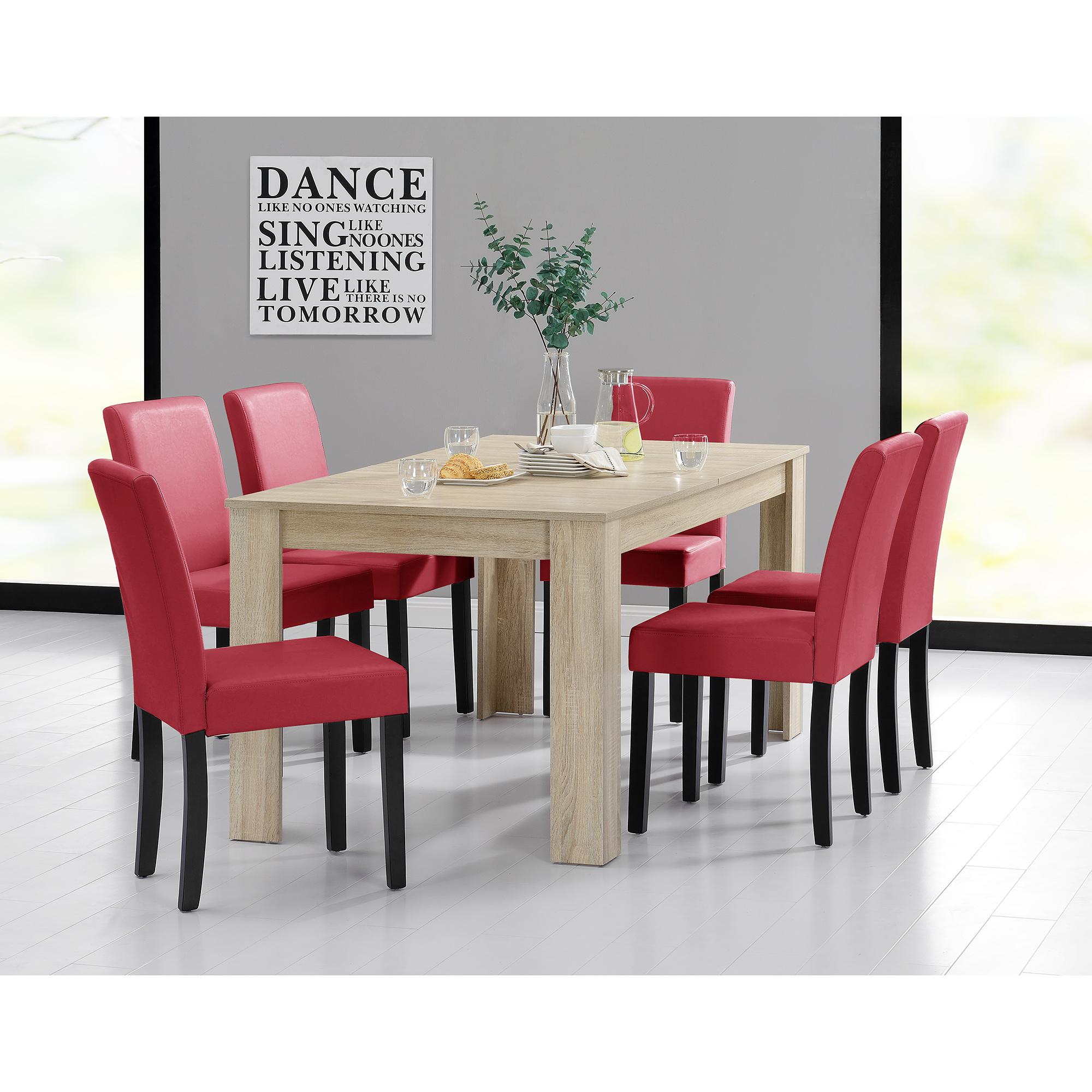 Tavolo da Pranzo 160x90 Legno di Quercia Chiaro + 6 Sedie Rosso Sala ...