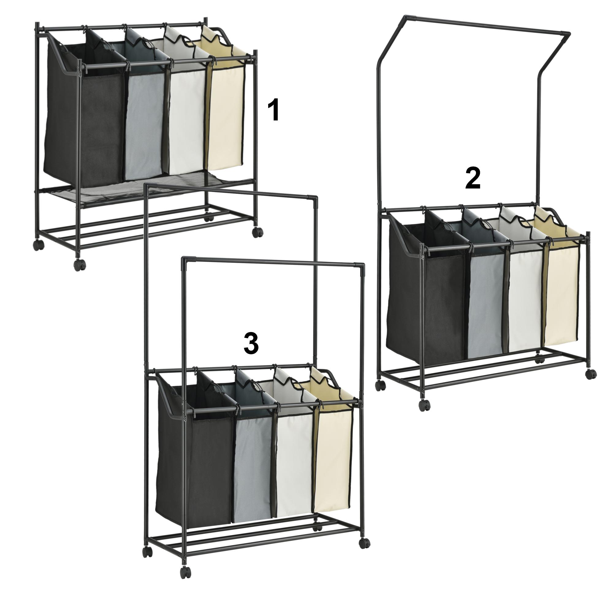 2 Kleiderstangen Wäschesortierer Wäschesammler Korb Wäschewagen mit 4 Fächern