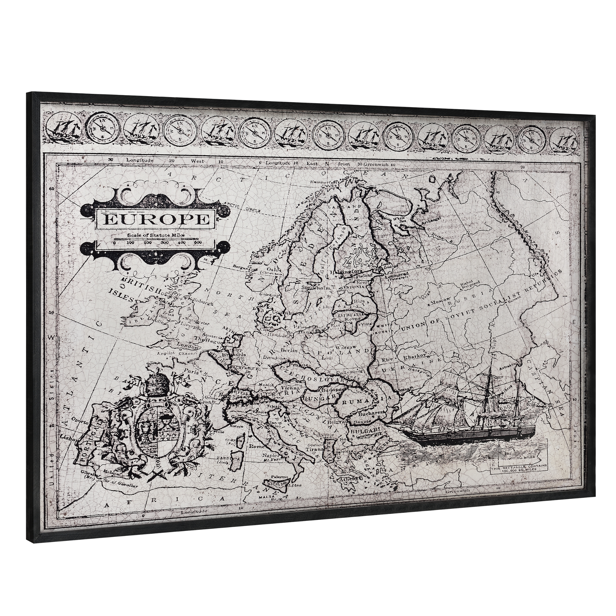 [art.work] Designový obraz na stěnu - hliníková deska - mapa Evropy - zarámovaný - 80x120x3,8 cm