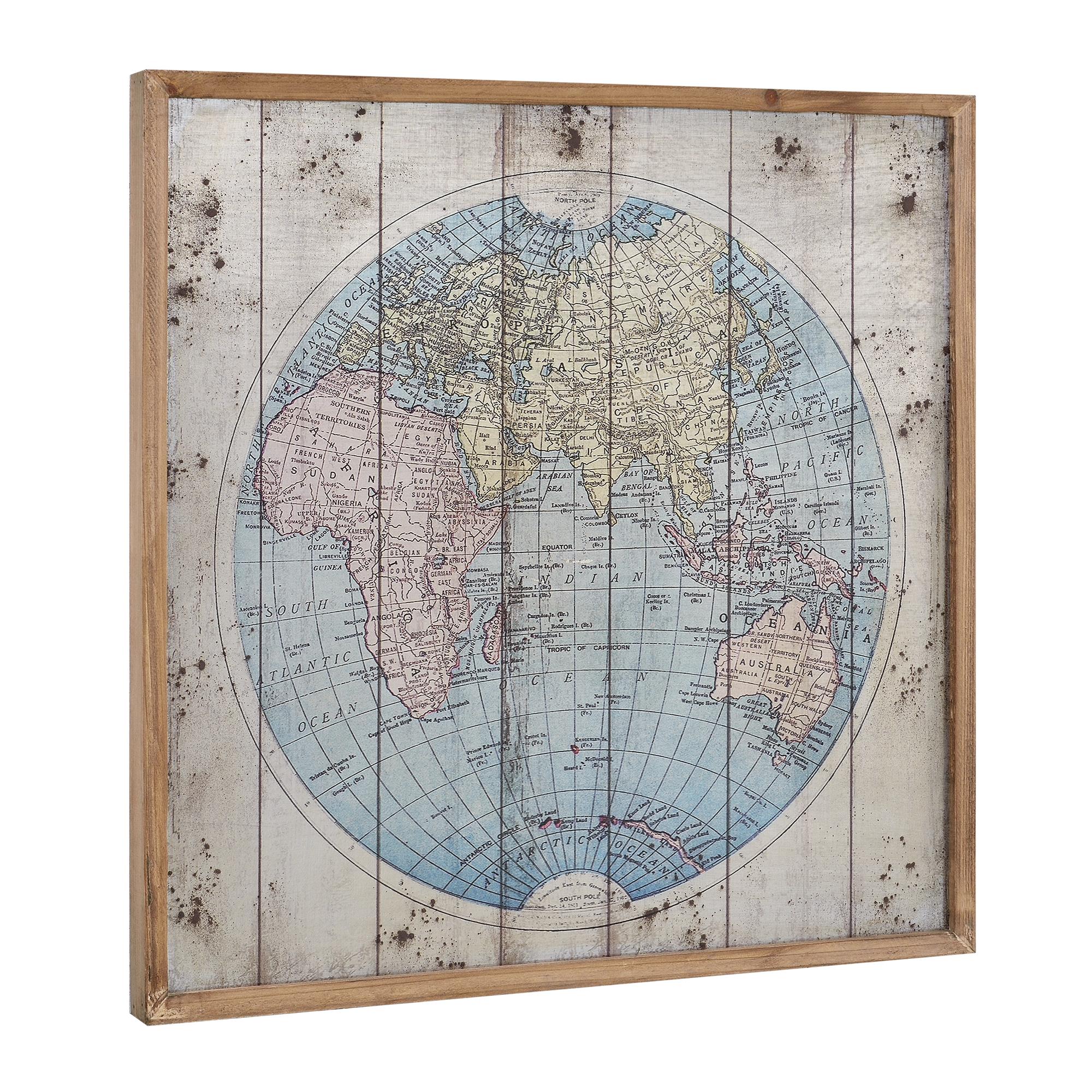 Wandbild 60x60cm Weltkarte Europakarte Globus Leinwand Bild GERAHMT ...