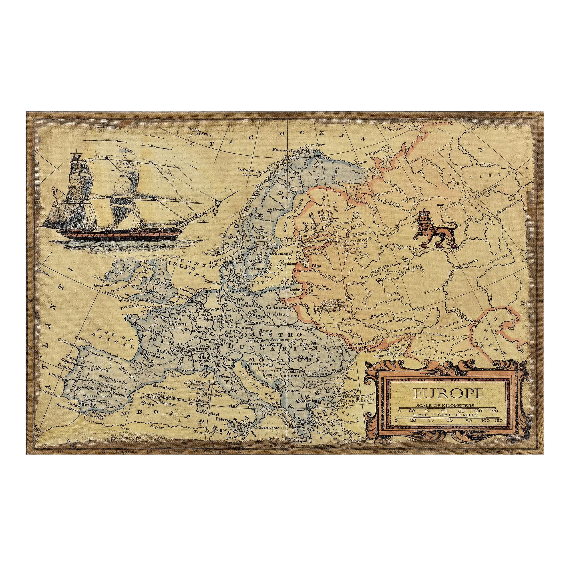 art.work] Wandbild 120x80cm Alte Europa Karte Landkarte Atlas ...