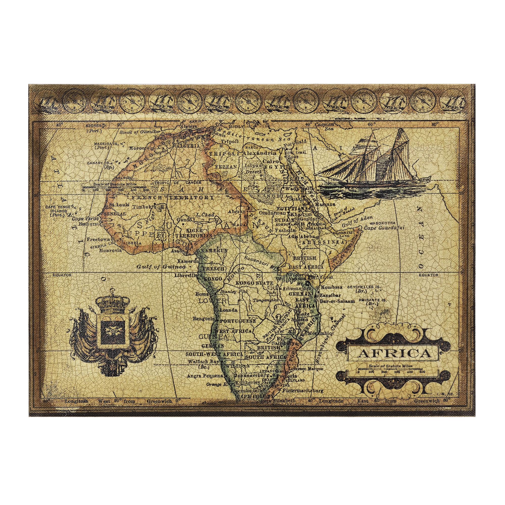 art.work] Wandbild 80x60cm GERAHMT Afrika Karte Atlas Landkarte Bild ...