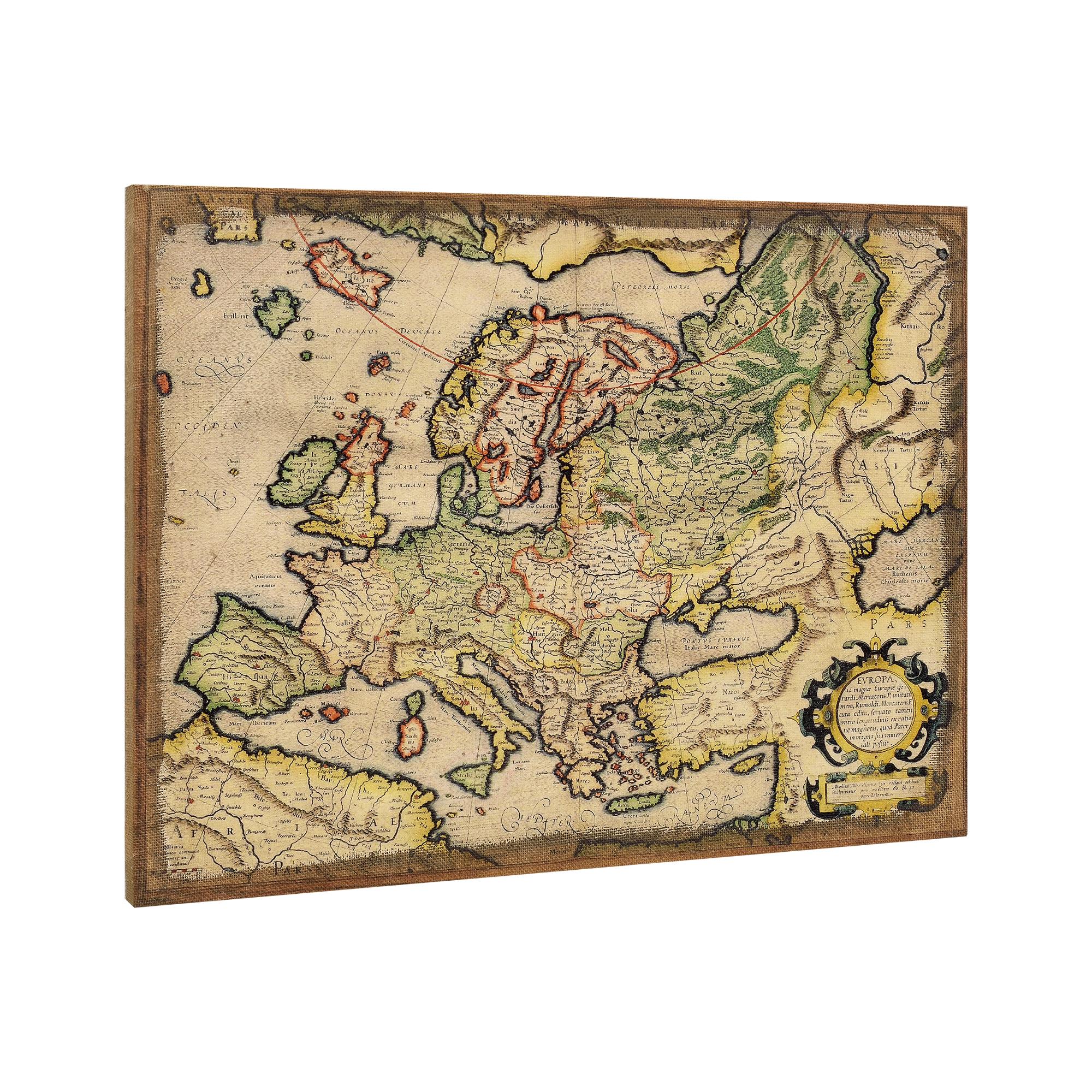 [art.work] Designový obraz na stěnu - mapa Evropy - zarámovaný - 60x80x2,8 cm