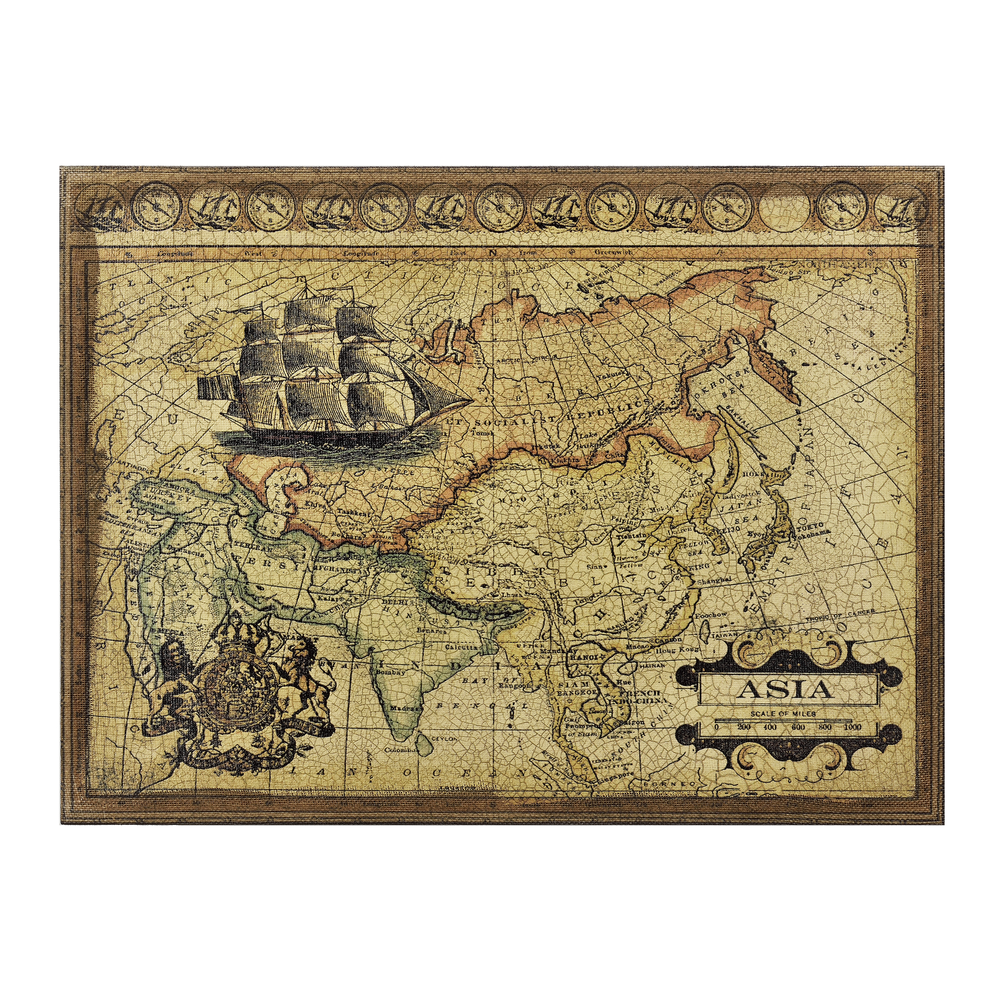 peinture murale 80x60cm toile atlas carte asie image mappemonde ebay. Black Bedroom Furniture Sets. Home Design Ideas