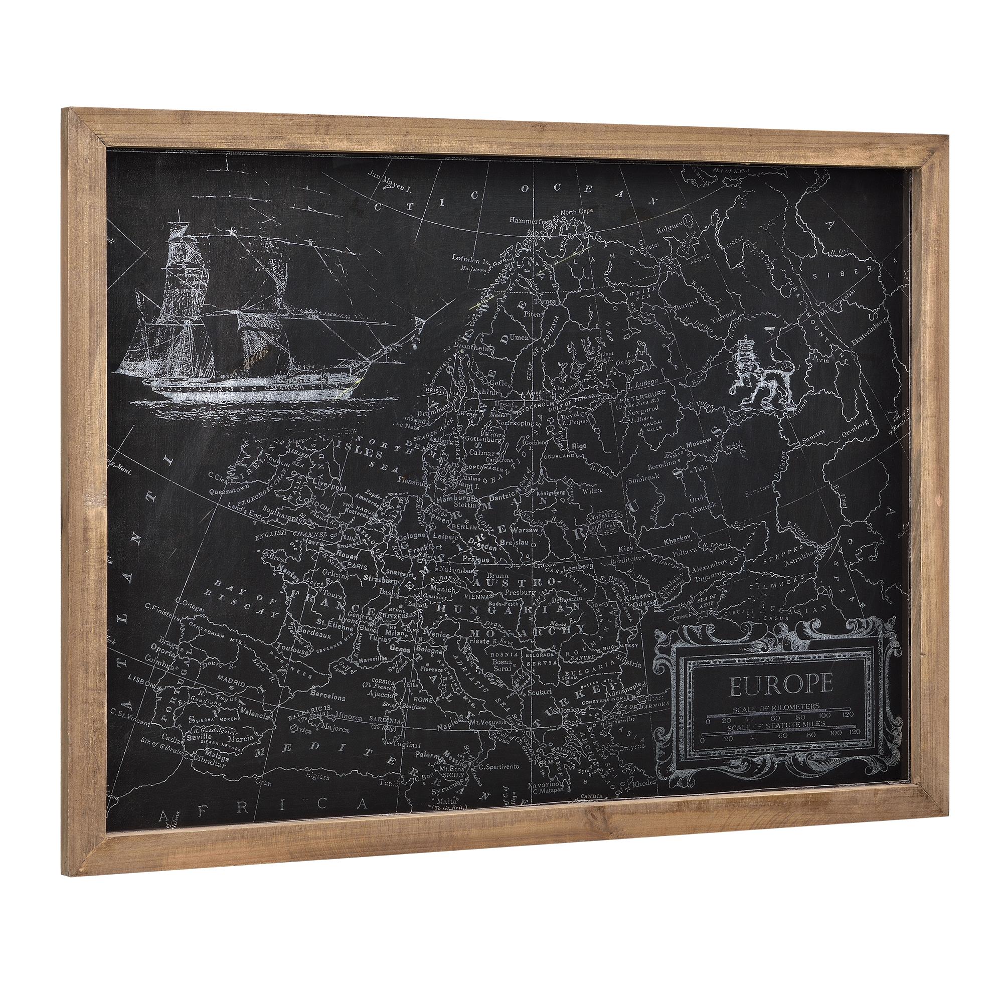 [art.work] Designový obraz na stěnu - na stříbrnom PVC podkladu - mapa Evropy - zarámovaný - 60x80x2,5 cm
