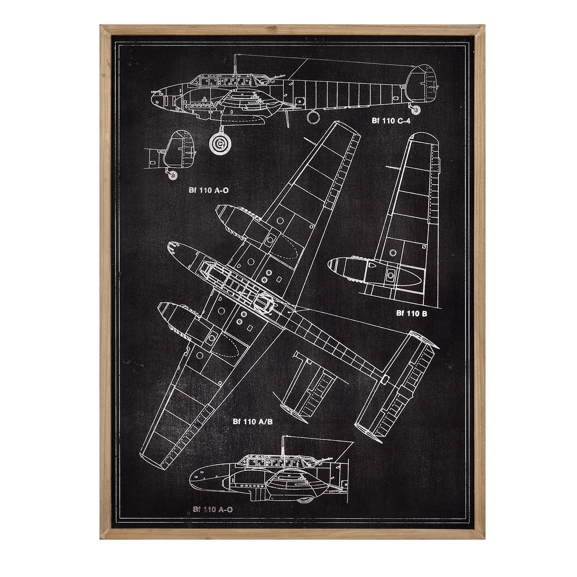 Art.work Alu Wandbild 80x60cm Flugzeug Skizze technische Zeichnung ...