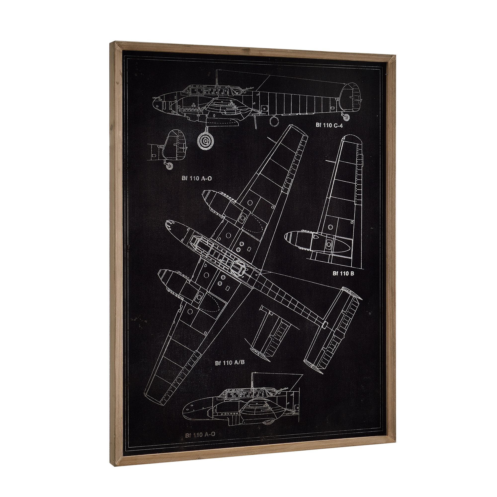 art.work] Alu Wandbild 80x60cm Flugzeug Skizze Technische Zeichnung ...