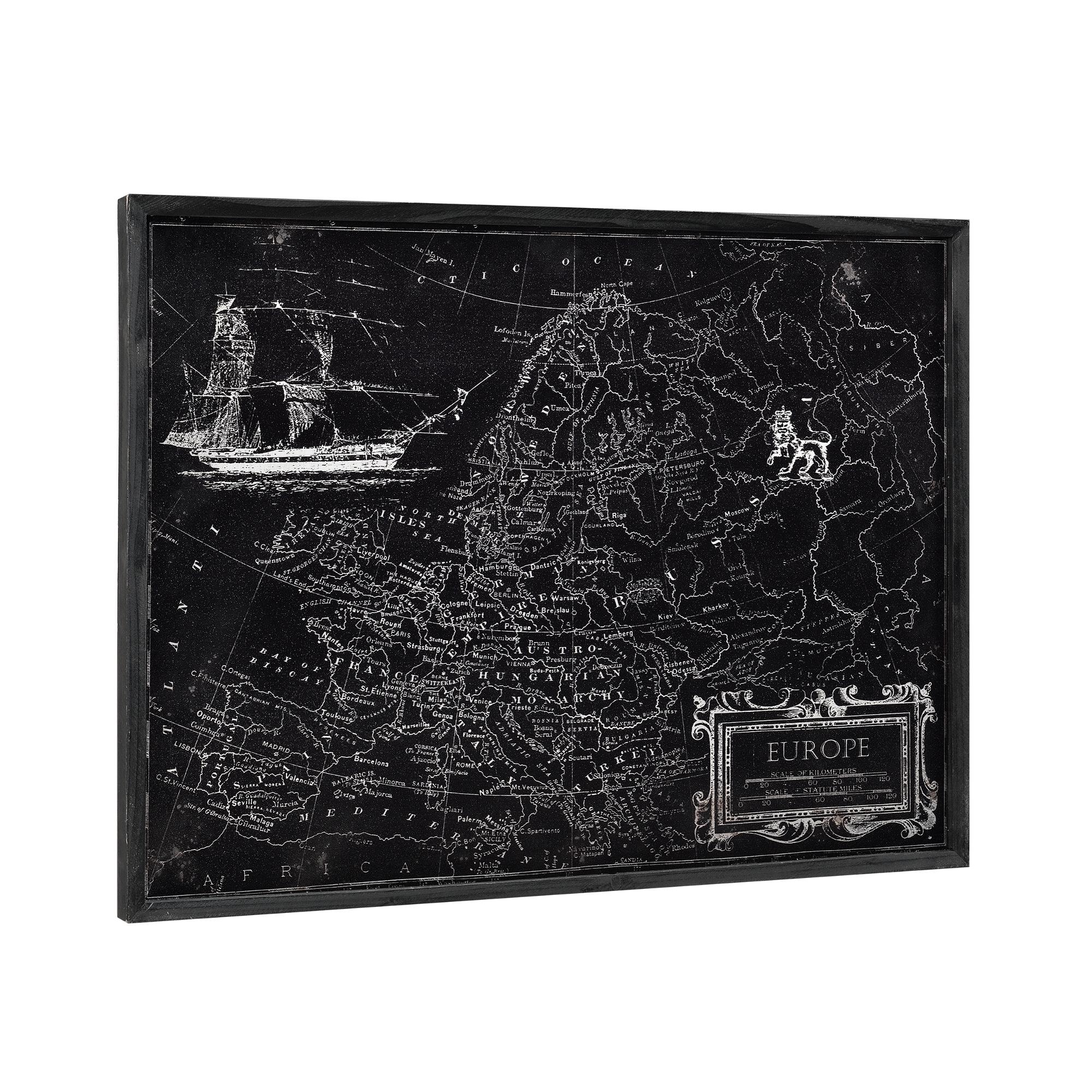 [art.work] Designový obraz na stěnu - hliníková deska - mapa Evropy - zarámovaný - 60x80x2,8 cm