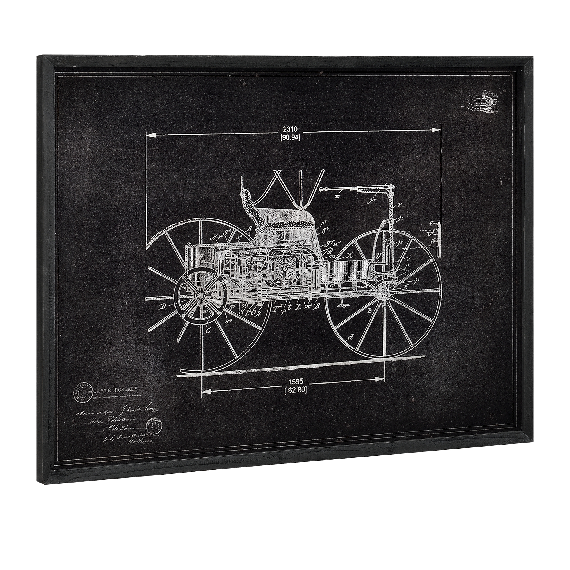 Wandbild 60x80cm Altes Auto Skizze Technische Zeichnung Design Deko