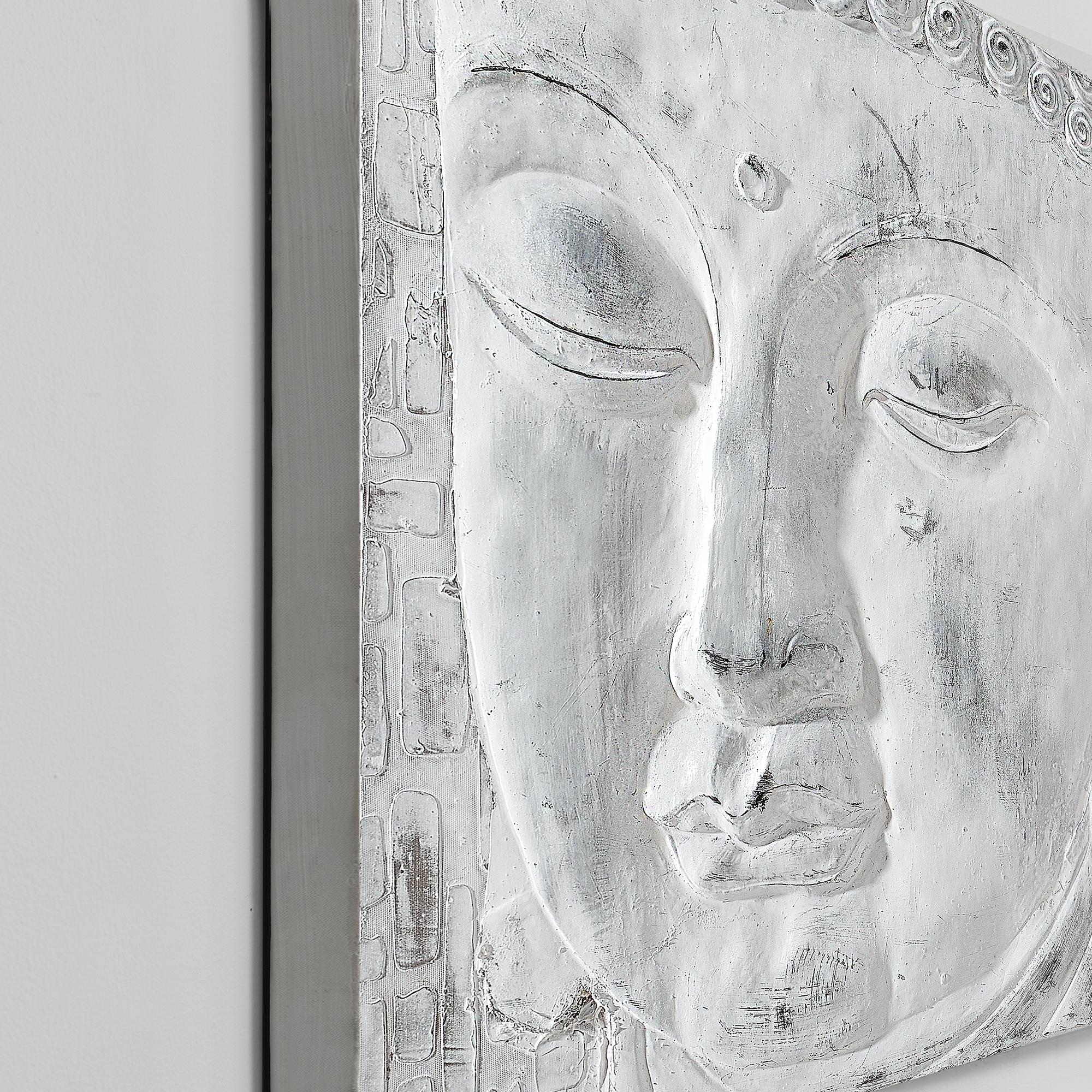 Wandbild 60x60cm Buddha Handgemalt Leinwand GERAHMT Acryl Gemälde art.work