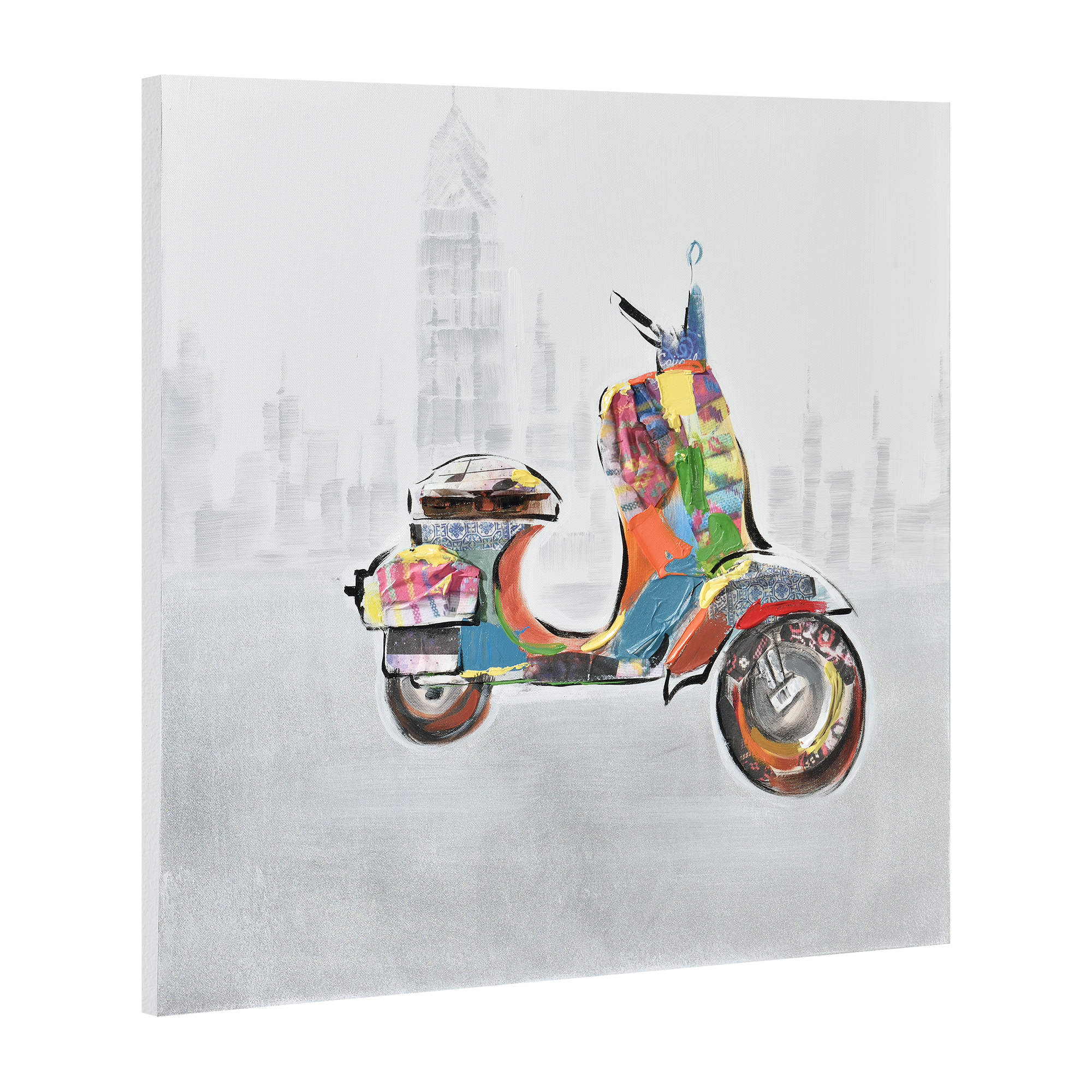 art.work Wandbild 60x60cm Motorroller Handgemalt Leinwand GERAHMT Acryl Deko