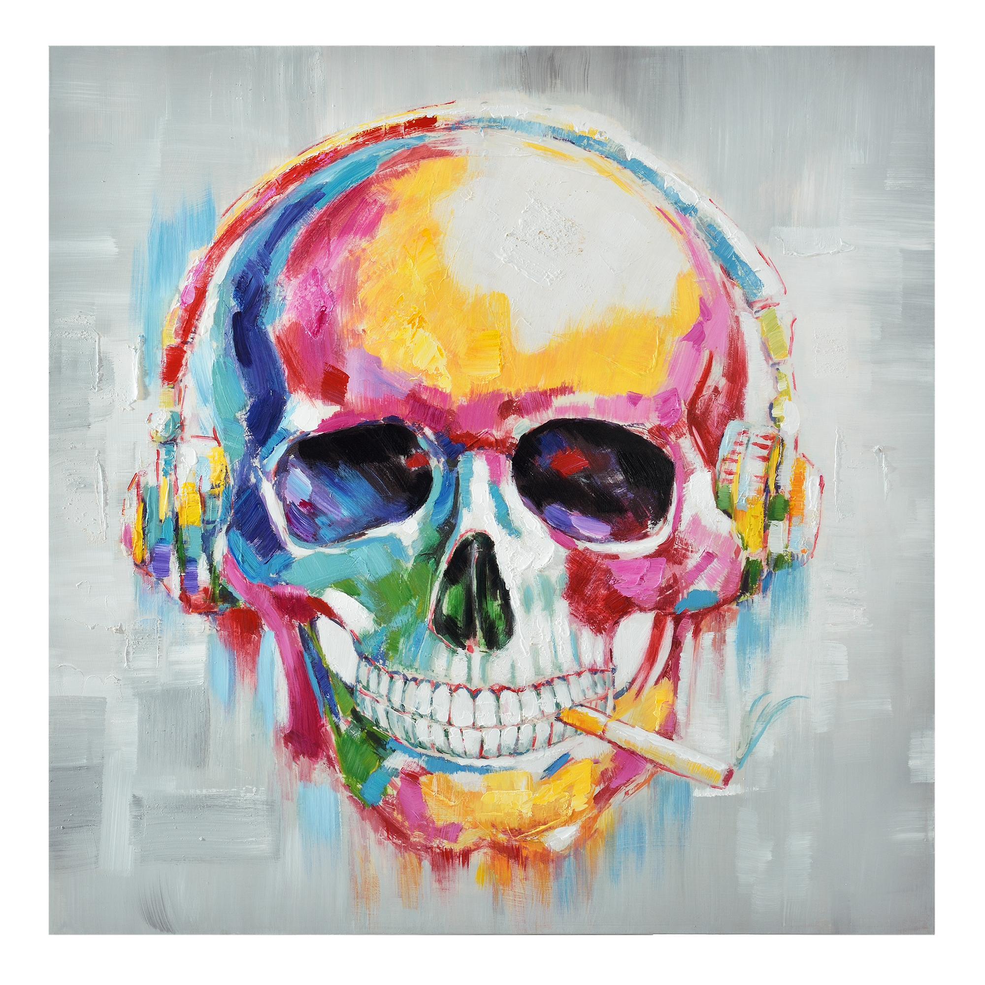 Wandbild 100x100cm totenkopf handgemalt leinwand gerahmt acryl deko ebay - Totenkopf wandbild ...