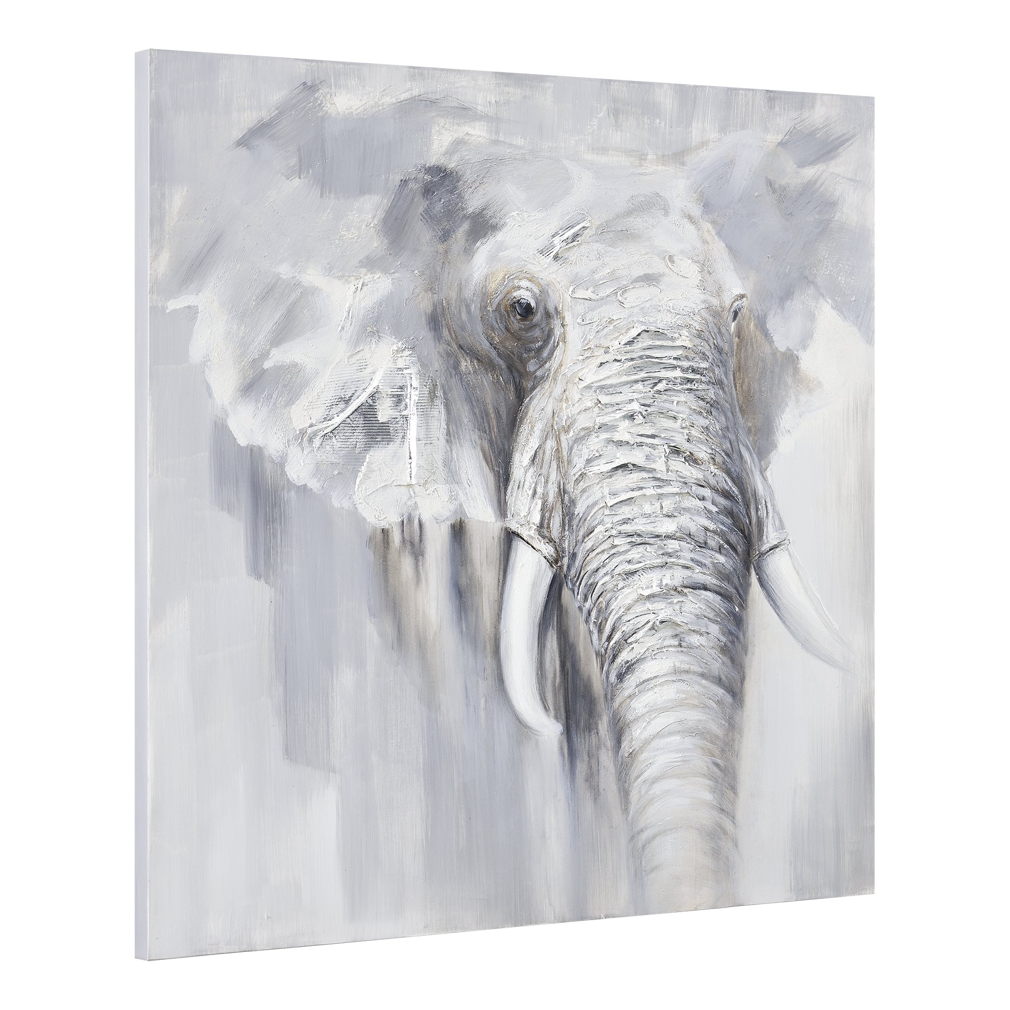 Art.work Wall Painting 100x100cm Elephant Hand-painted Canvas Framed ...