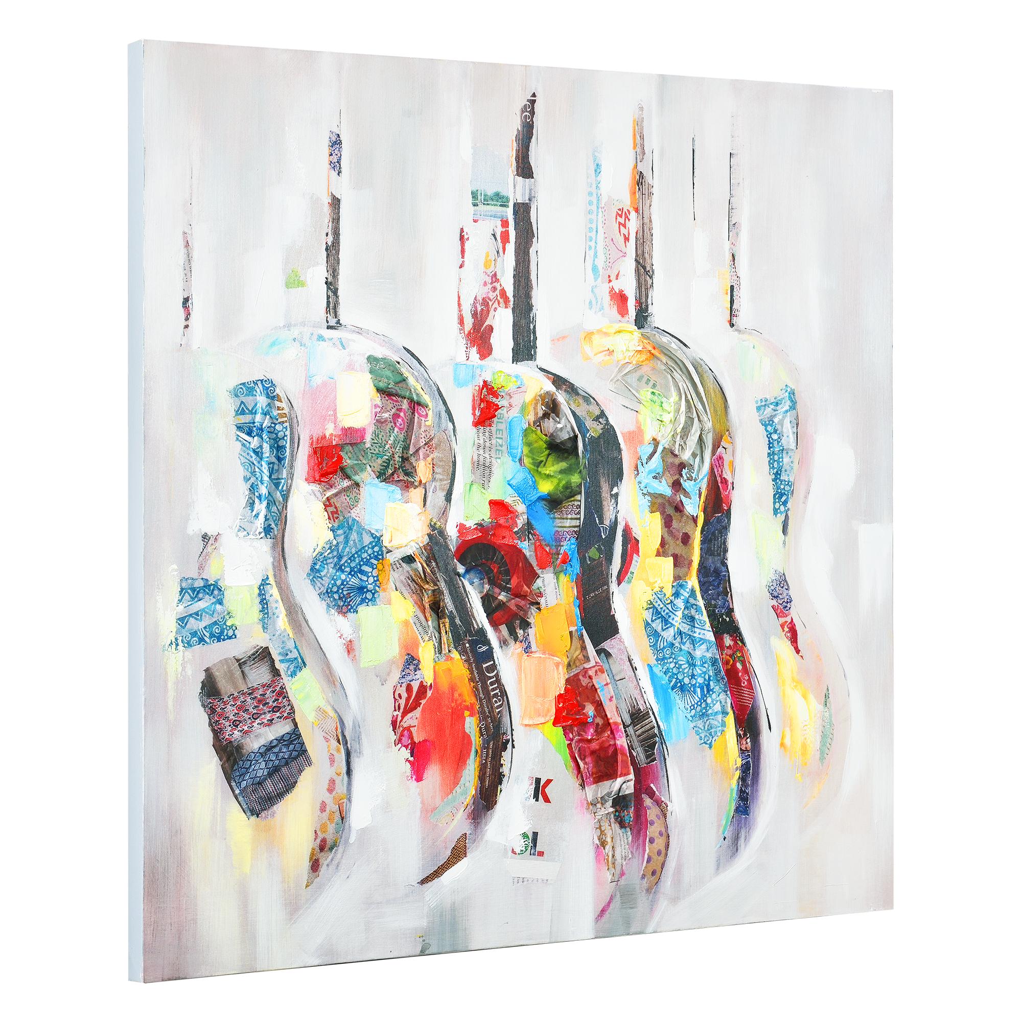 art.work Wandbild 50x50cm Kakadu Handgemalt Leinwand GERAHMT Acryl Gemälde