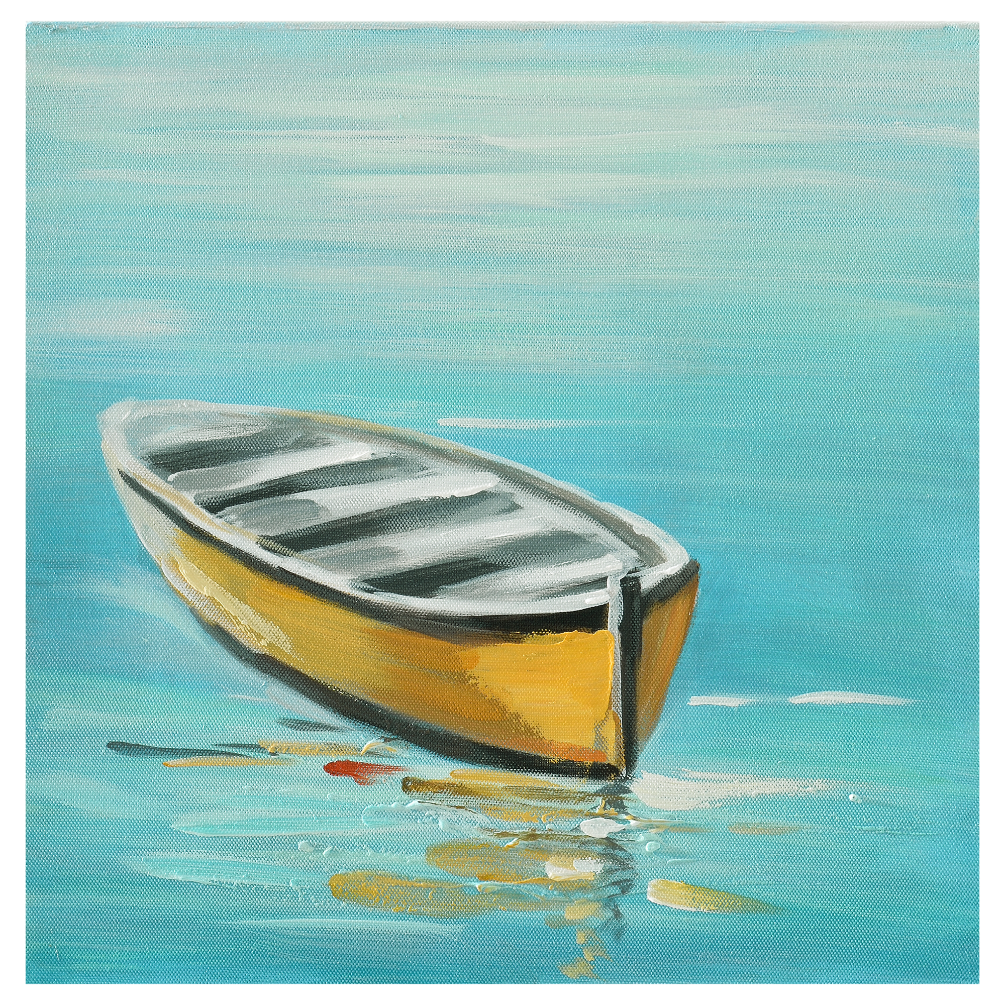 Wandbild 30x30cm Boot Handgemalt Leinwand GERAHMT Acryl Gemälde art.work