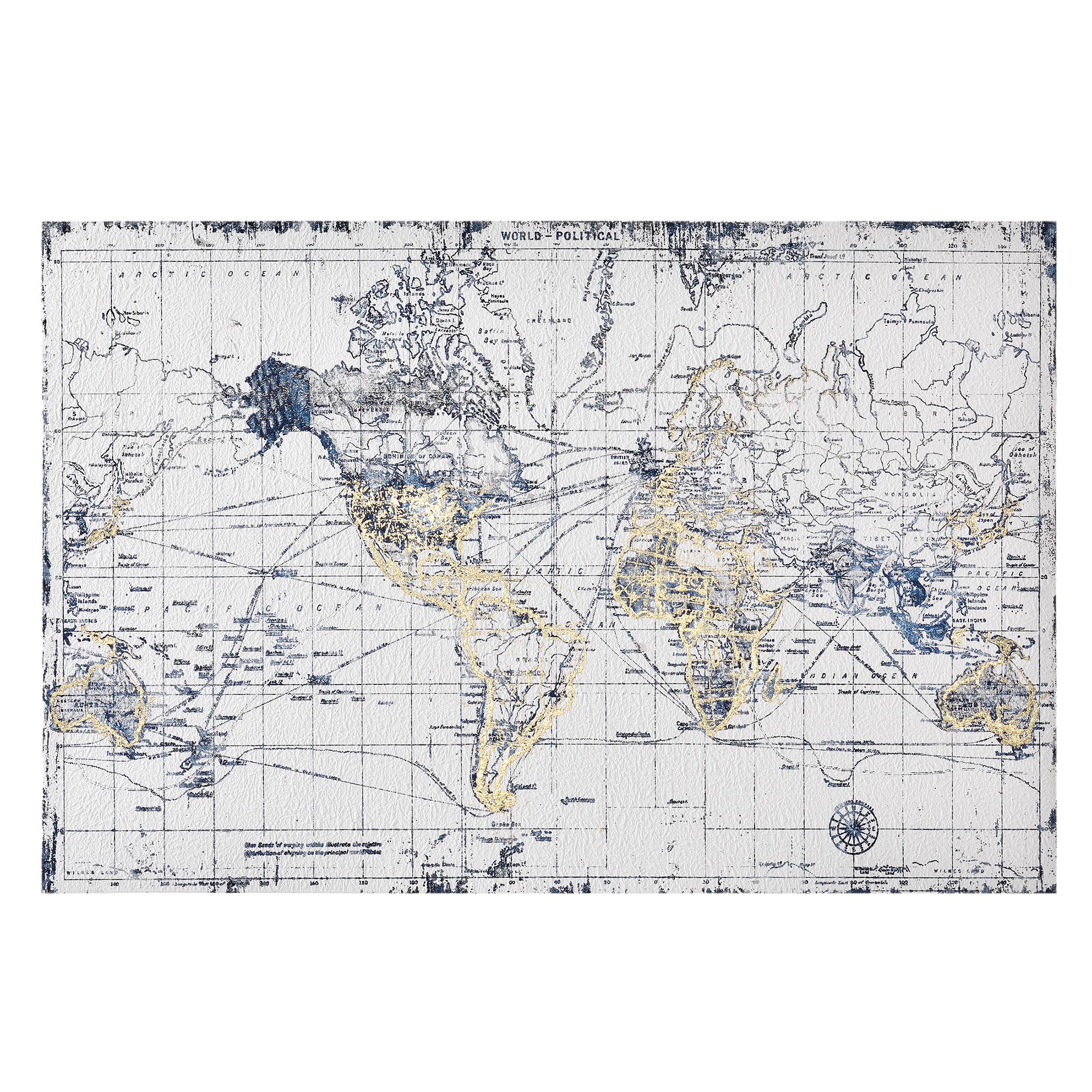 tableau mural 60x90cm carte du monde toile toiles tendues encadr ebay. Black Bedroom Furniture Sets. Home Design Ideas
