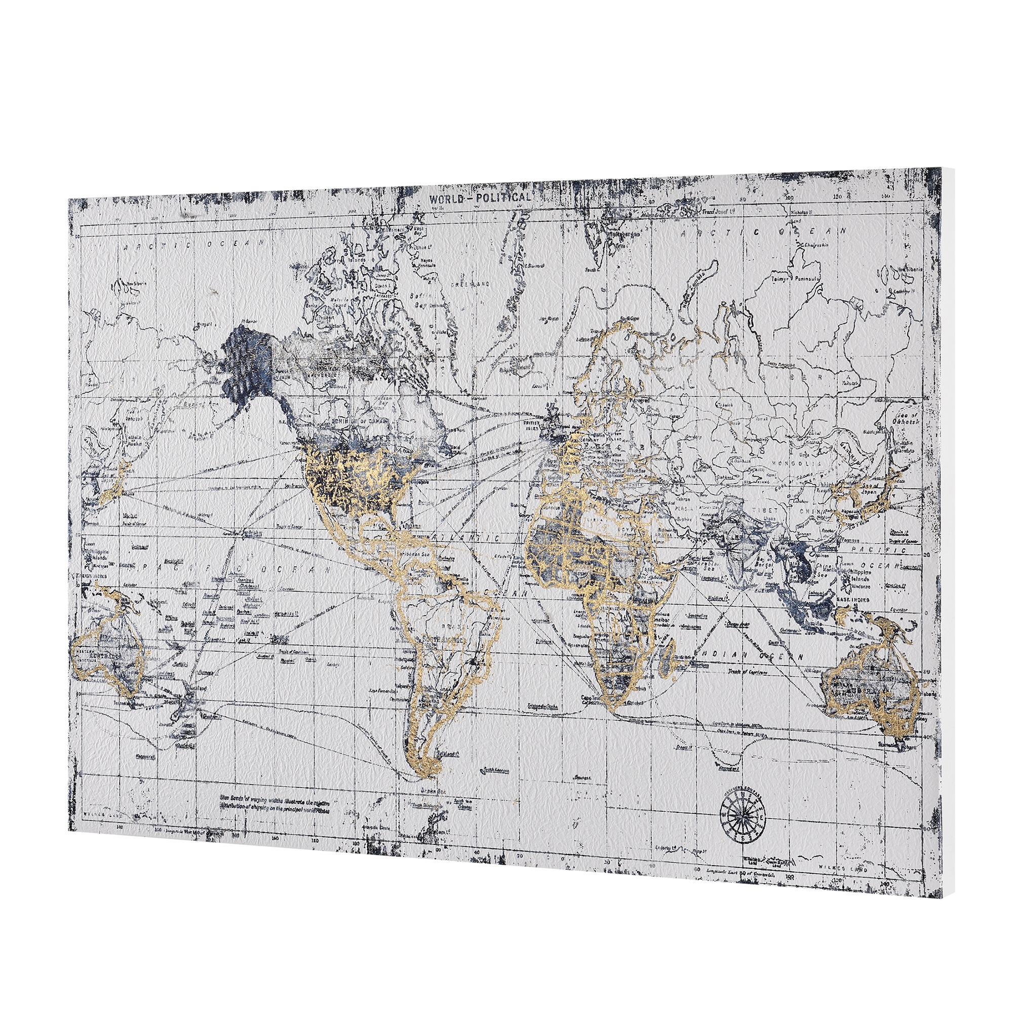 art.work] Wandbild 60x90cm Weltkarte Leinwand Leinwanddruck GERAHMT ...