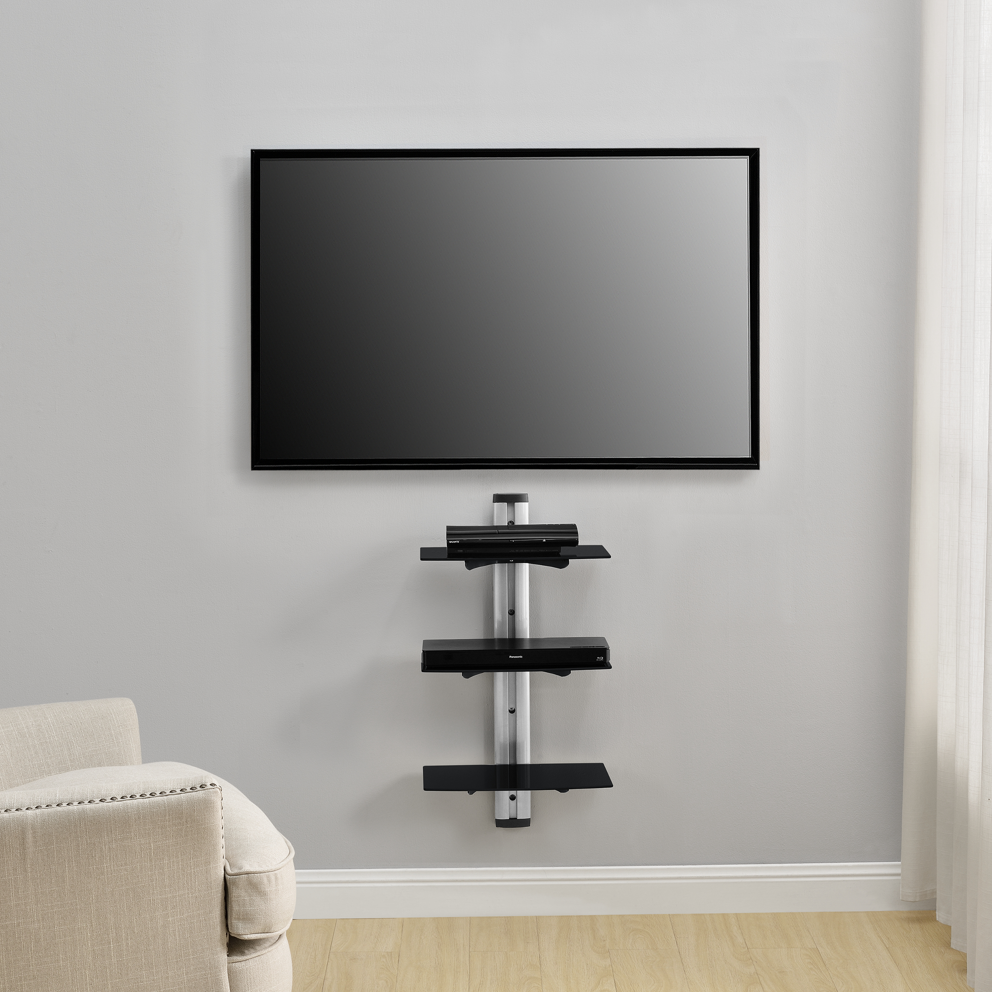 dvd hifi glas regal wandhalterung wandhalter receiver glasregal wand ebay. Black Bedroom Furniture Sets. Home Design Ideas