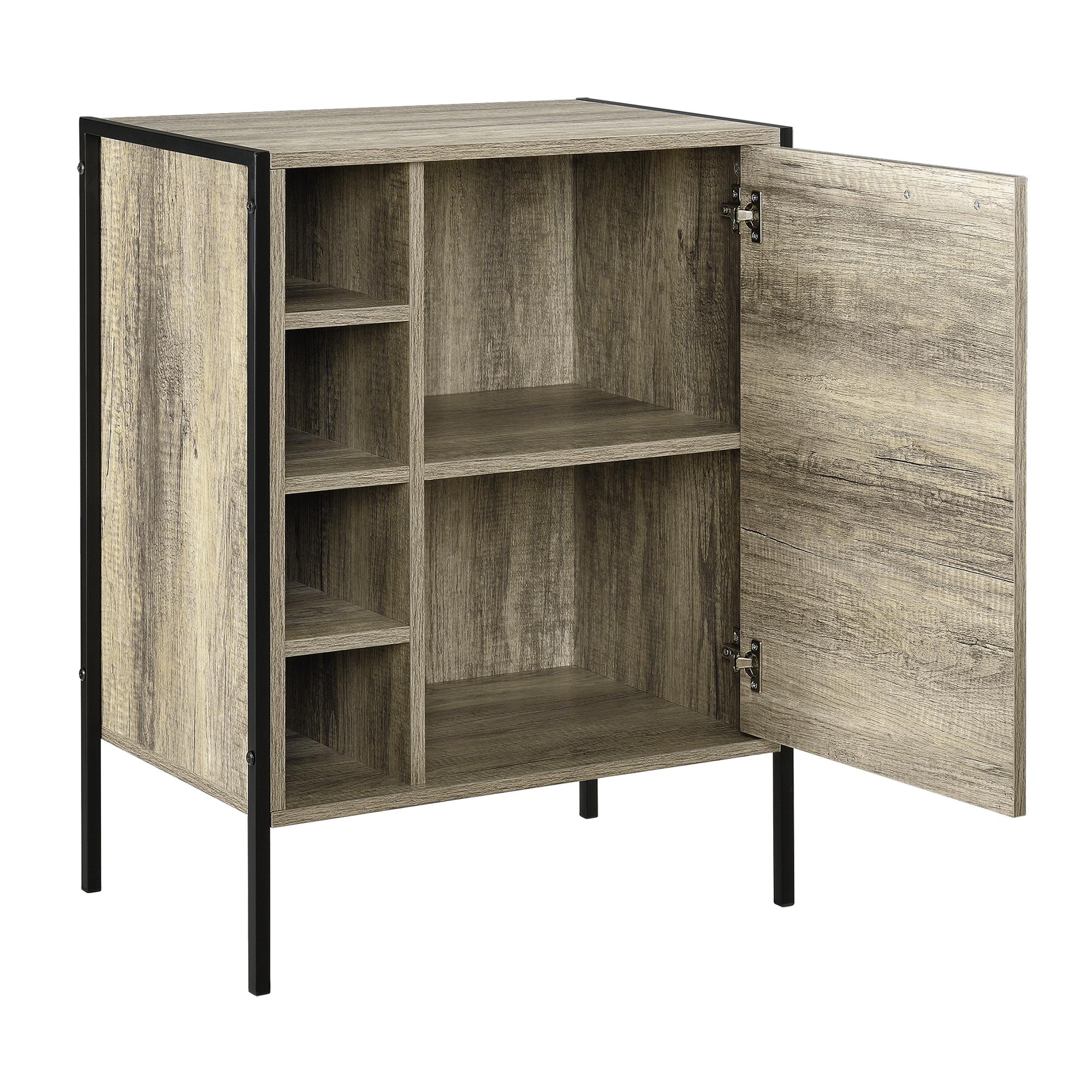 [en.casa]®  Comoda cu usa -78 x 60 x 39cm – negru / efect lemn