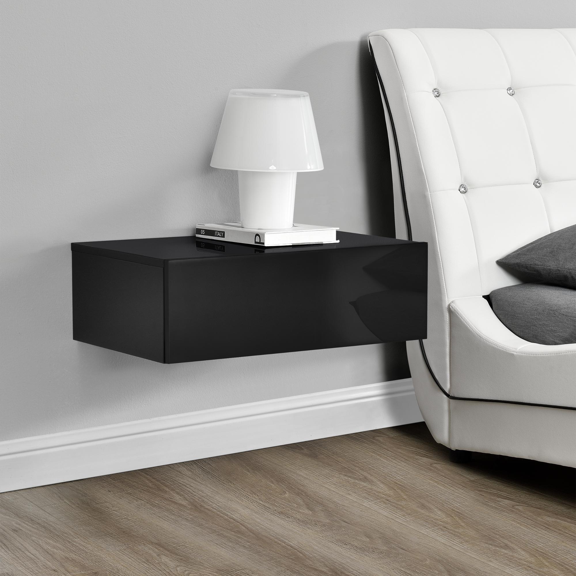 wandregal schublade schwarz hochglanz h ngeregal wand regal schrank ebay. Black Bedroom Furniture Sets. Home Design Ideas