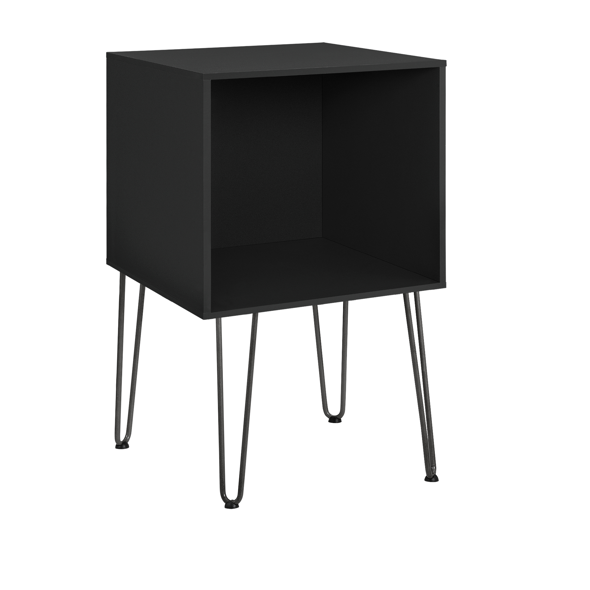 beistelltisch mit hairpin legs nachttisch wandkonsole regal schwarz ebay. Black Bedroom Furniture Sets. Home Design Ideas