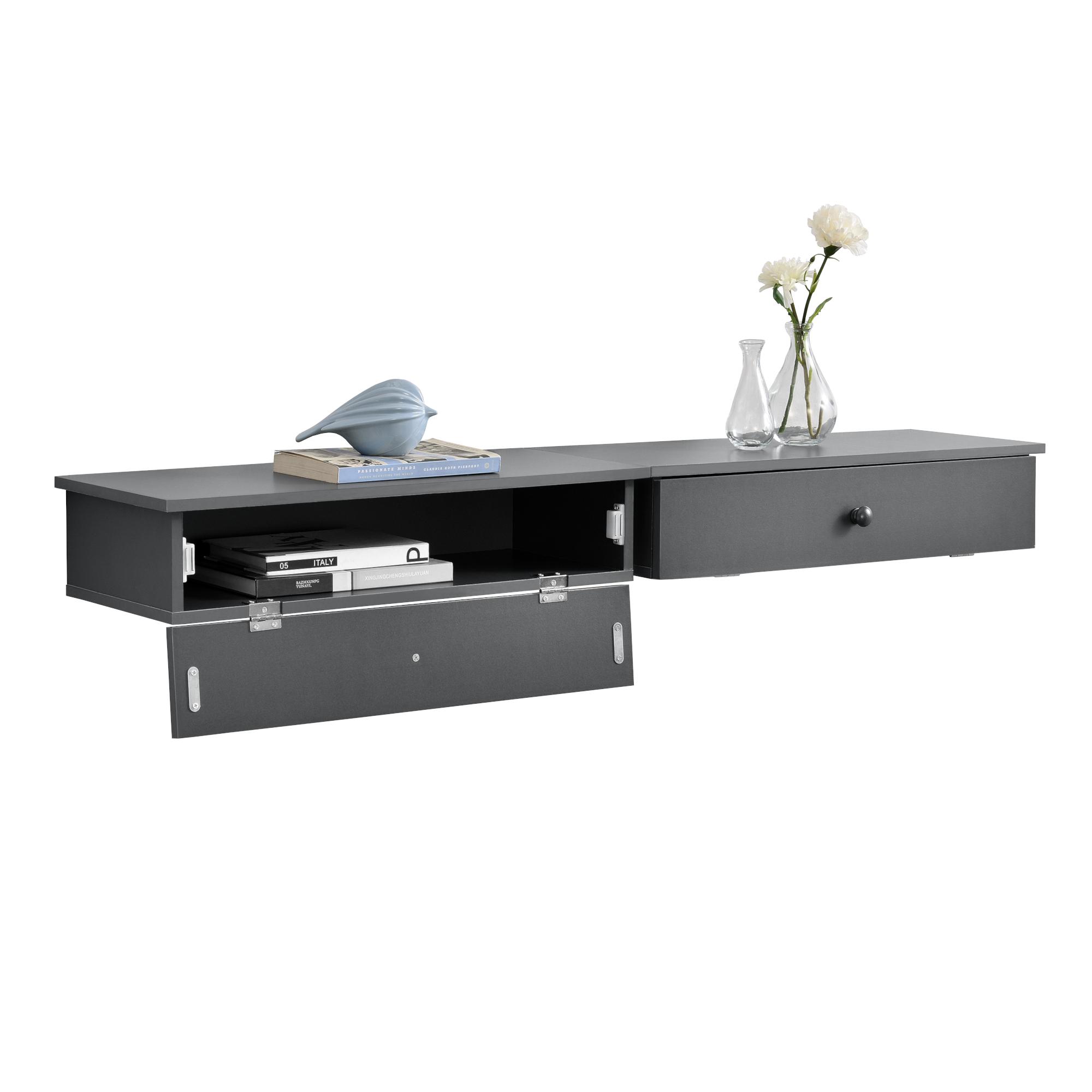 2x suspendu table de chevet gris console murale. Black Bedroom Furniture Sets. Home Design Ideas