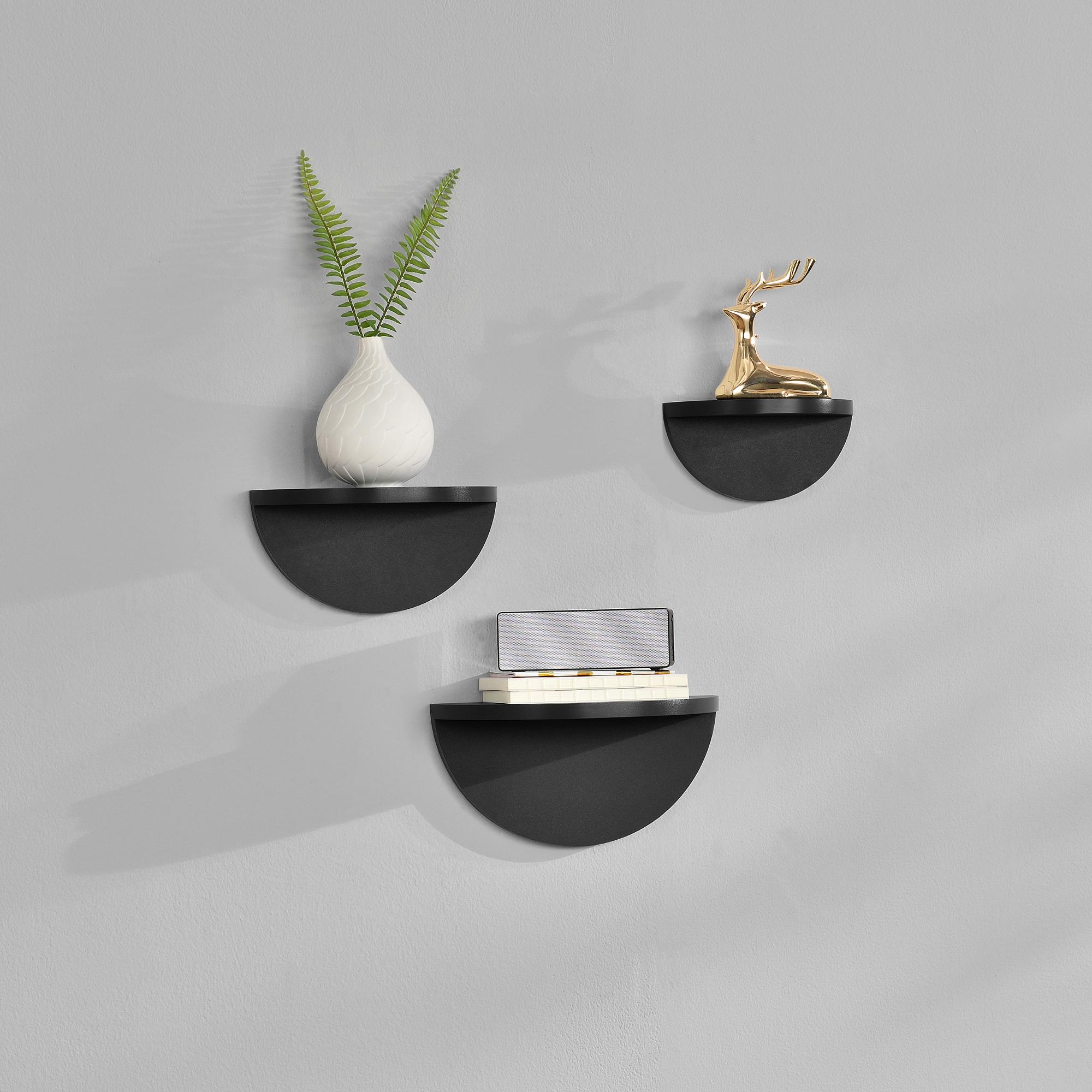 [en.casa]® Třídílná sada designových polic na zeď - černá - model 1