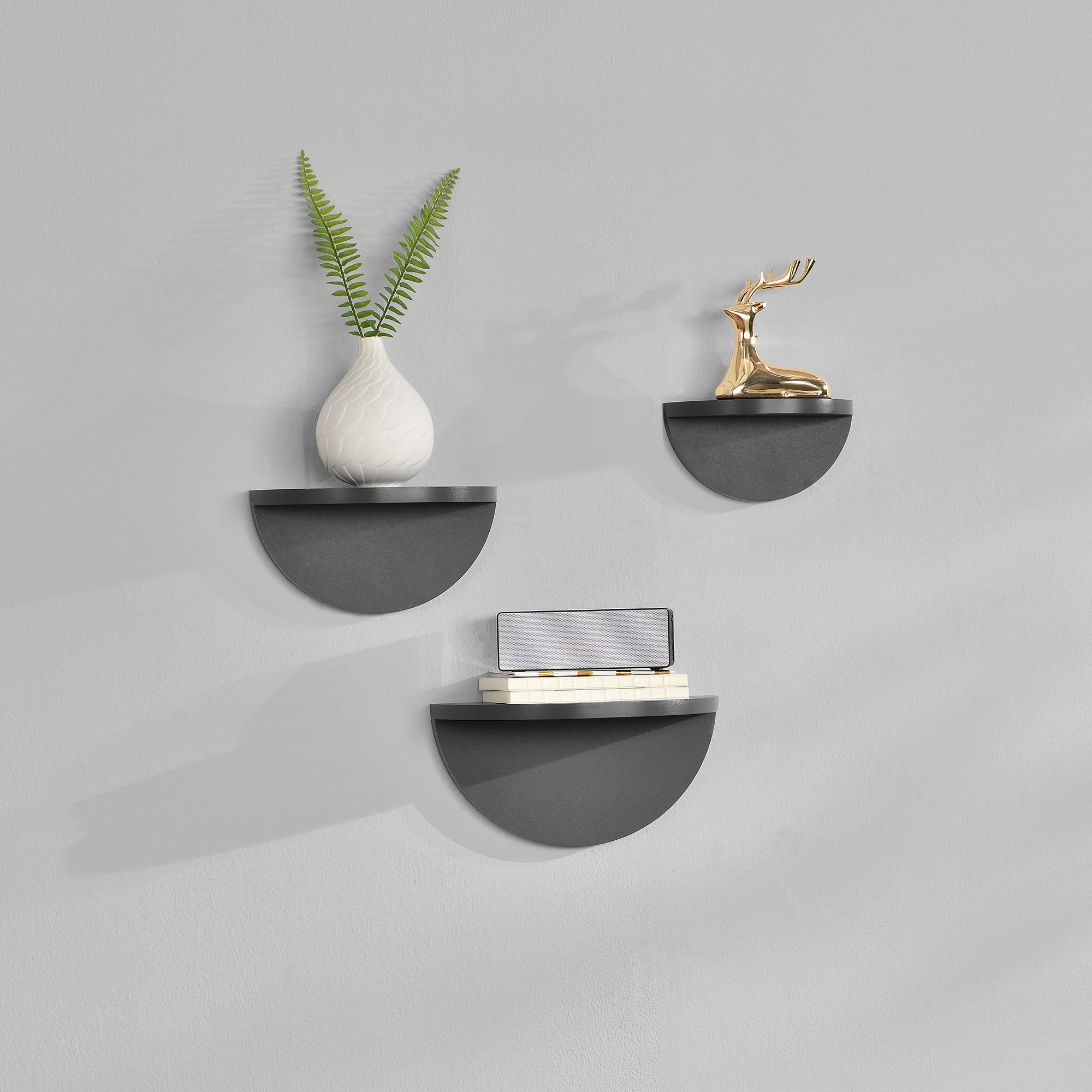 [en.casa]® Třídílná sada designových polic na zeď - tmavě šedá - model 1