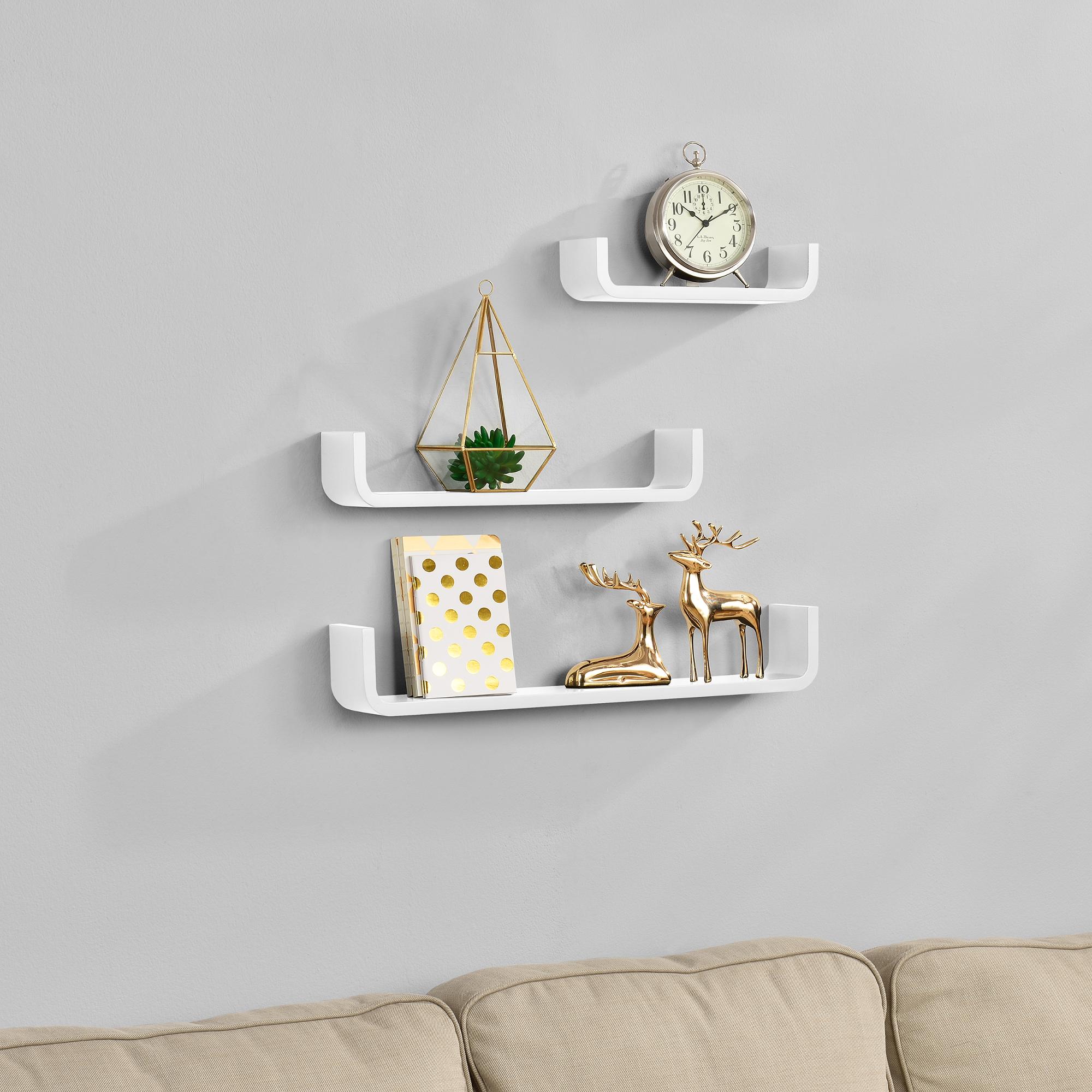 [en.casa]® Třídílná sada designových polic na zeď - bílá - model 2