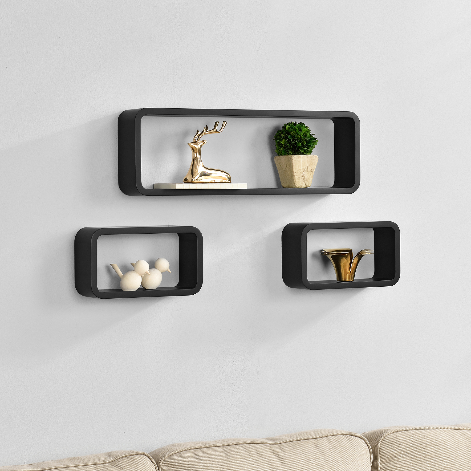 [en.casa]® Třídílná sada designových polic na zeď - černá - model 3