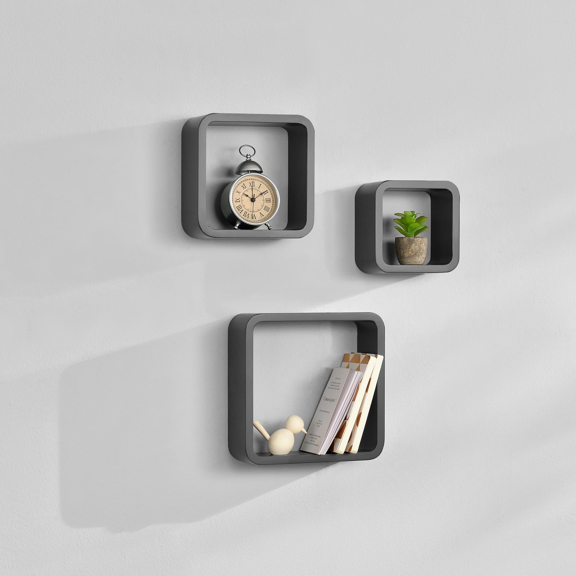 [en.casa]® Třídílná sada designových polic na zeď - tmavě šedá - model 4