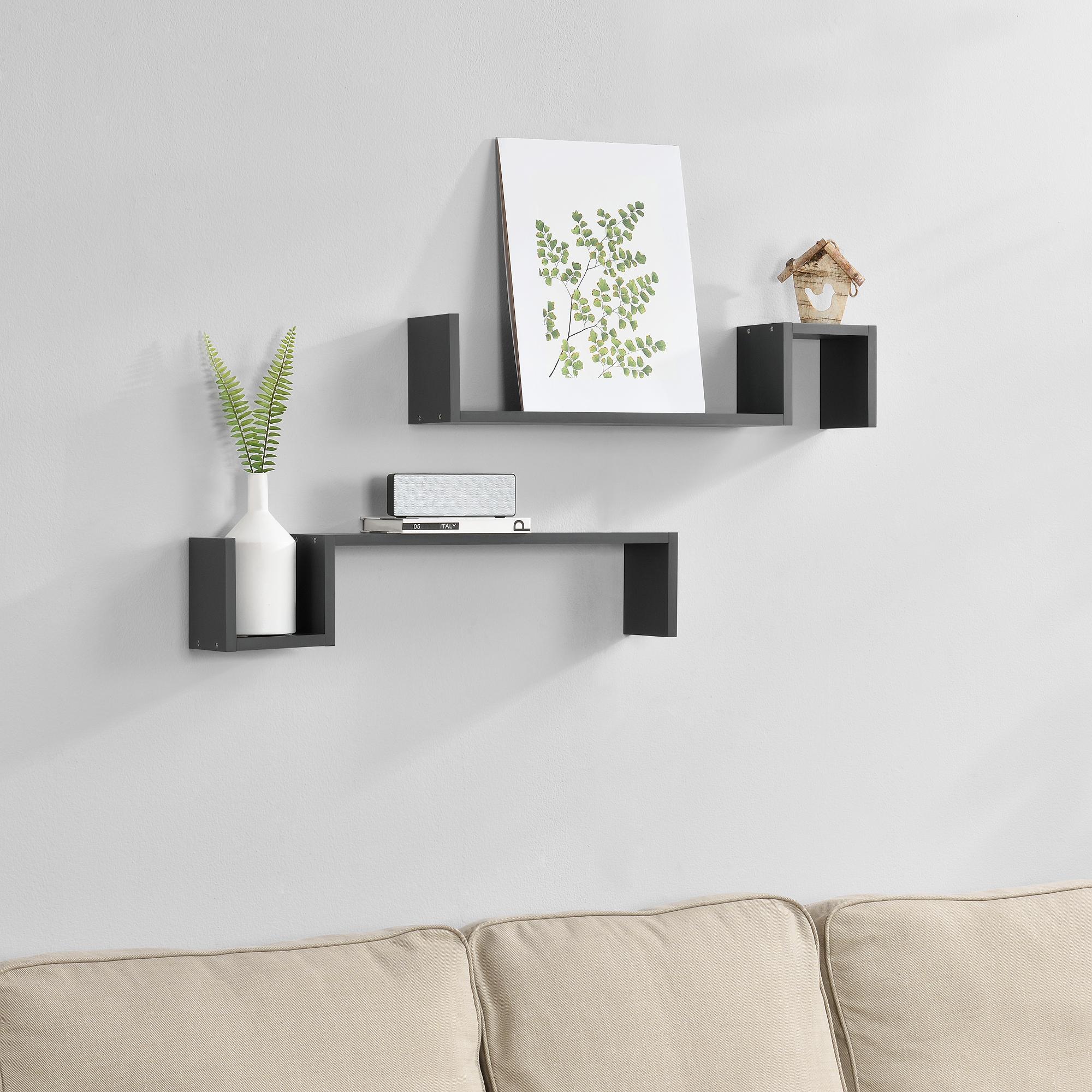 [en.casa]® Dvoudílná sada designových polic na zeď - tmavě šedá - model 6