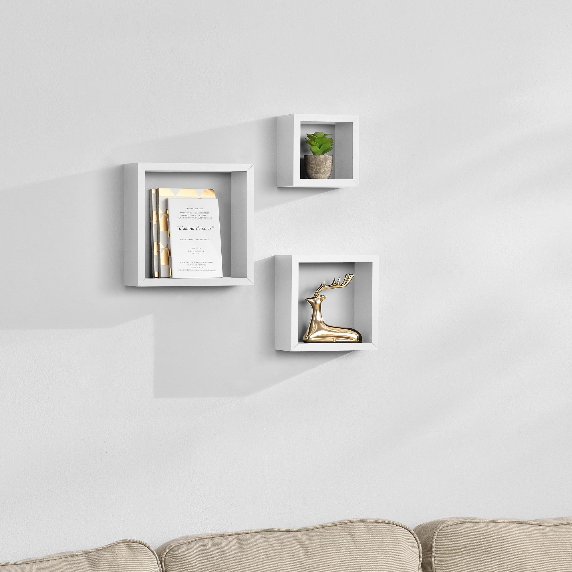 [en.casa]® Třídílná sada designových polic na zeď - bílá - model 7