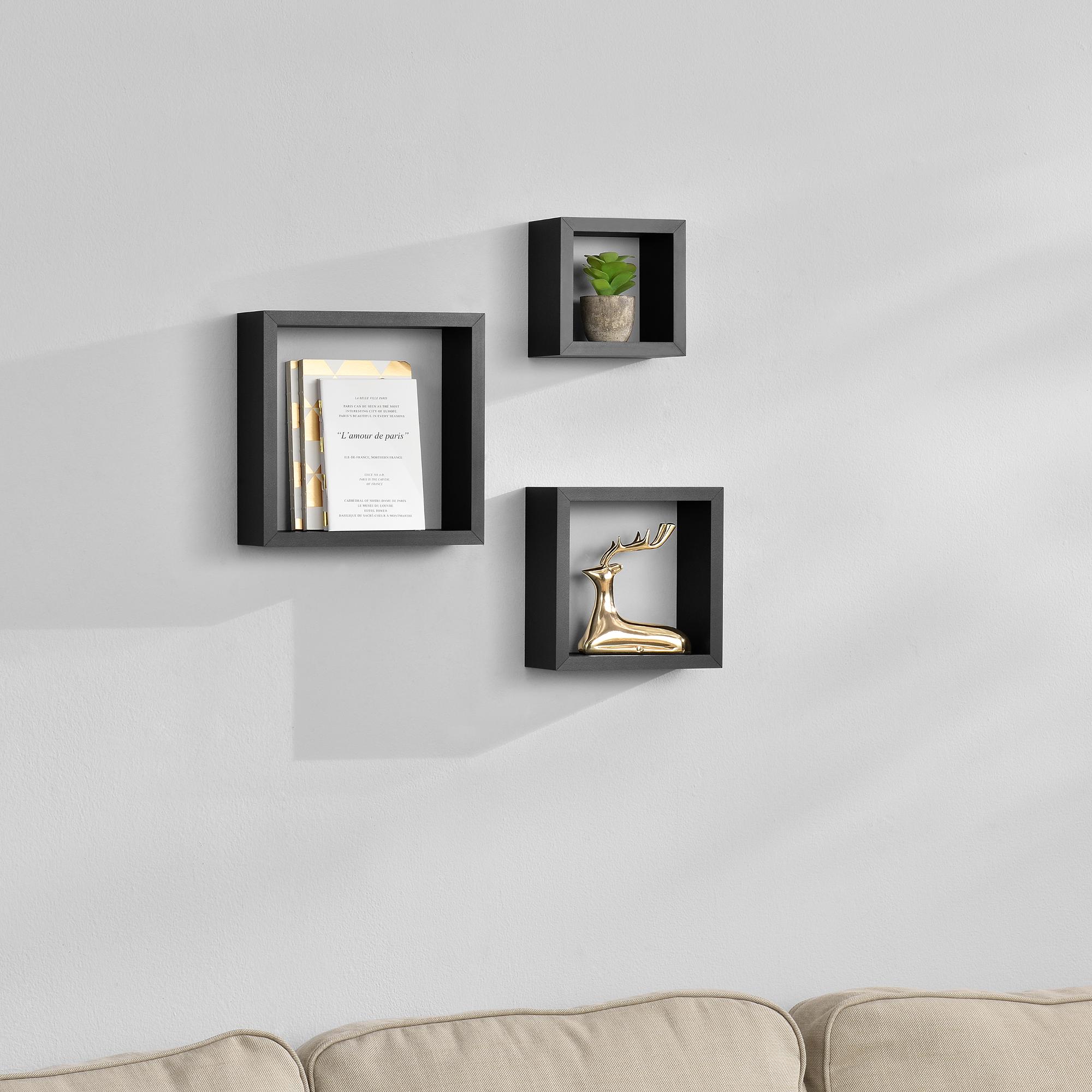 3er set wandregal h ngeregal b cherregal cd regal cube lounge schwarz ebay. Black Bedroom Furniture Sets. Home Design Ideas