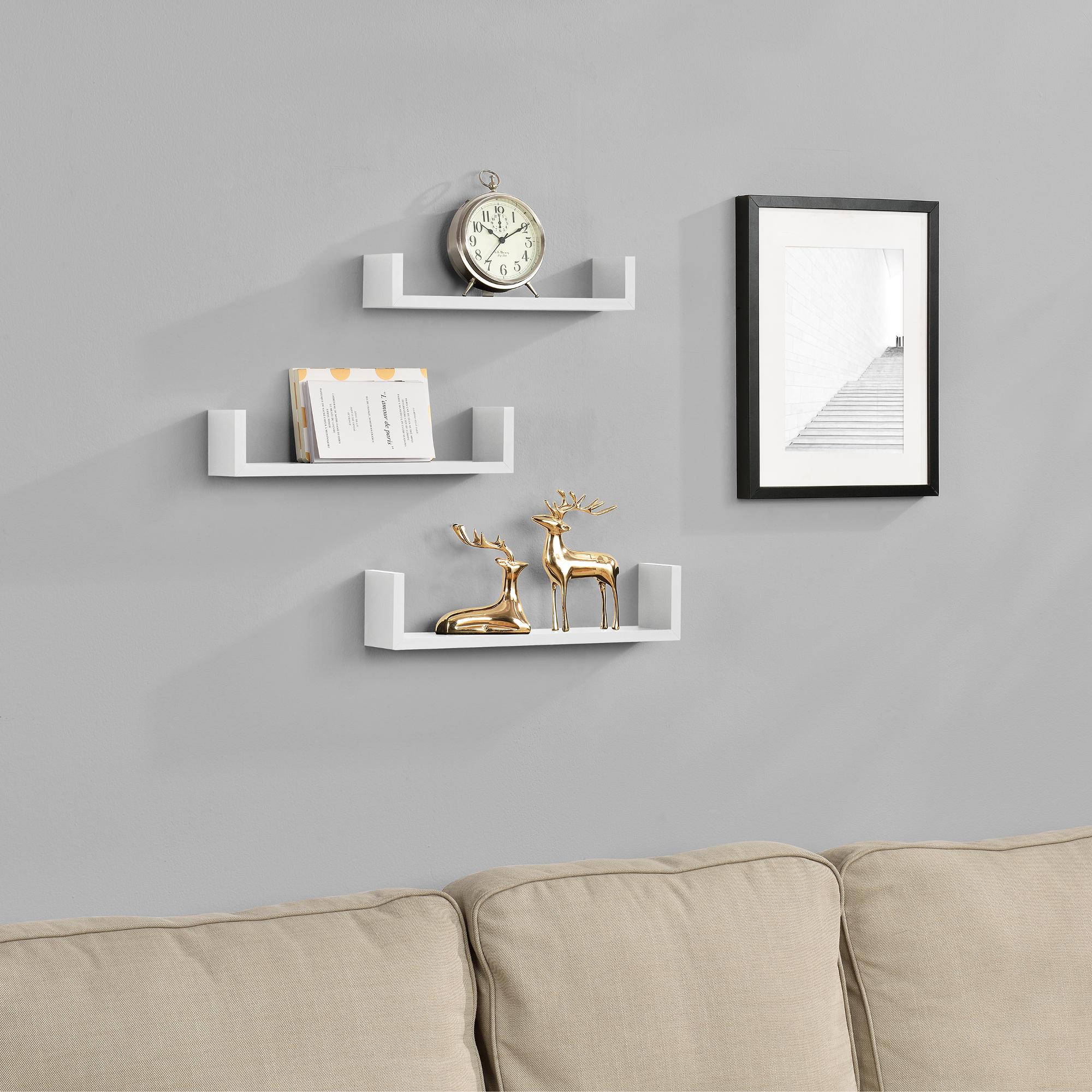 [en.casa]® Třídílná sada designových polic na zeď - bílá - model 9
