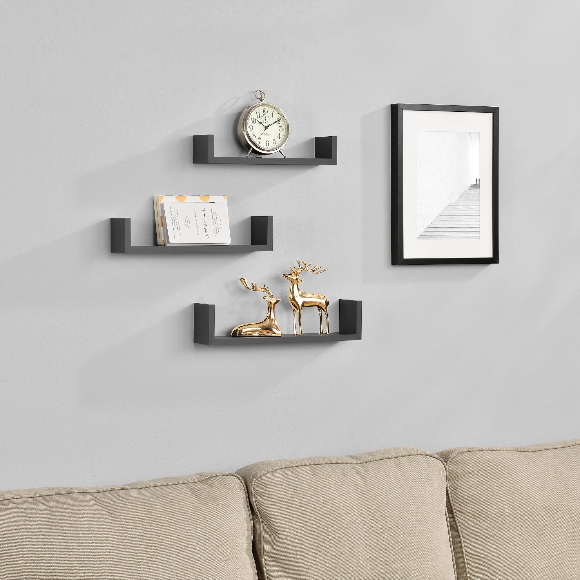 [en.casa]® Třídílná sada designových polic na zeď - tmavě šedá - model 9