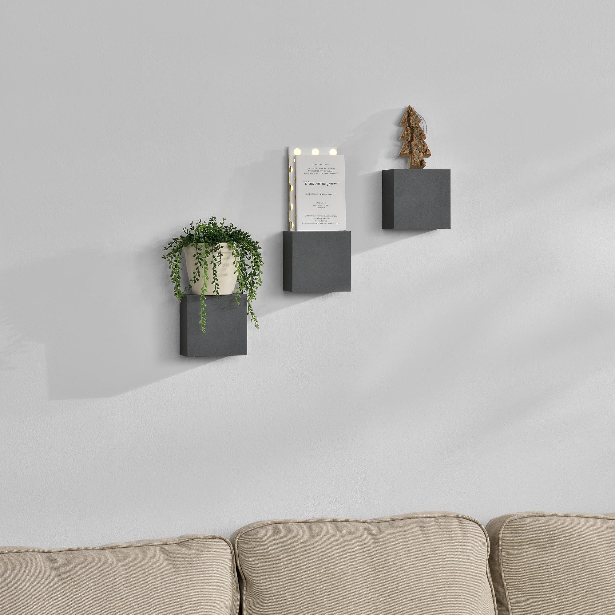 [en.casa]® Třídílná sada designových polic na zeď - tmavě šedá - model 14
