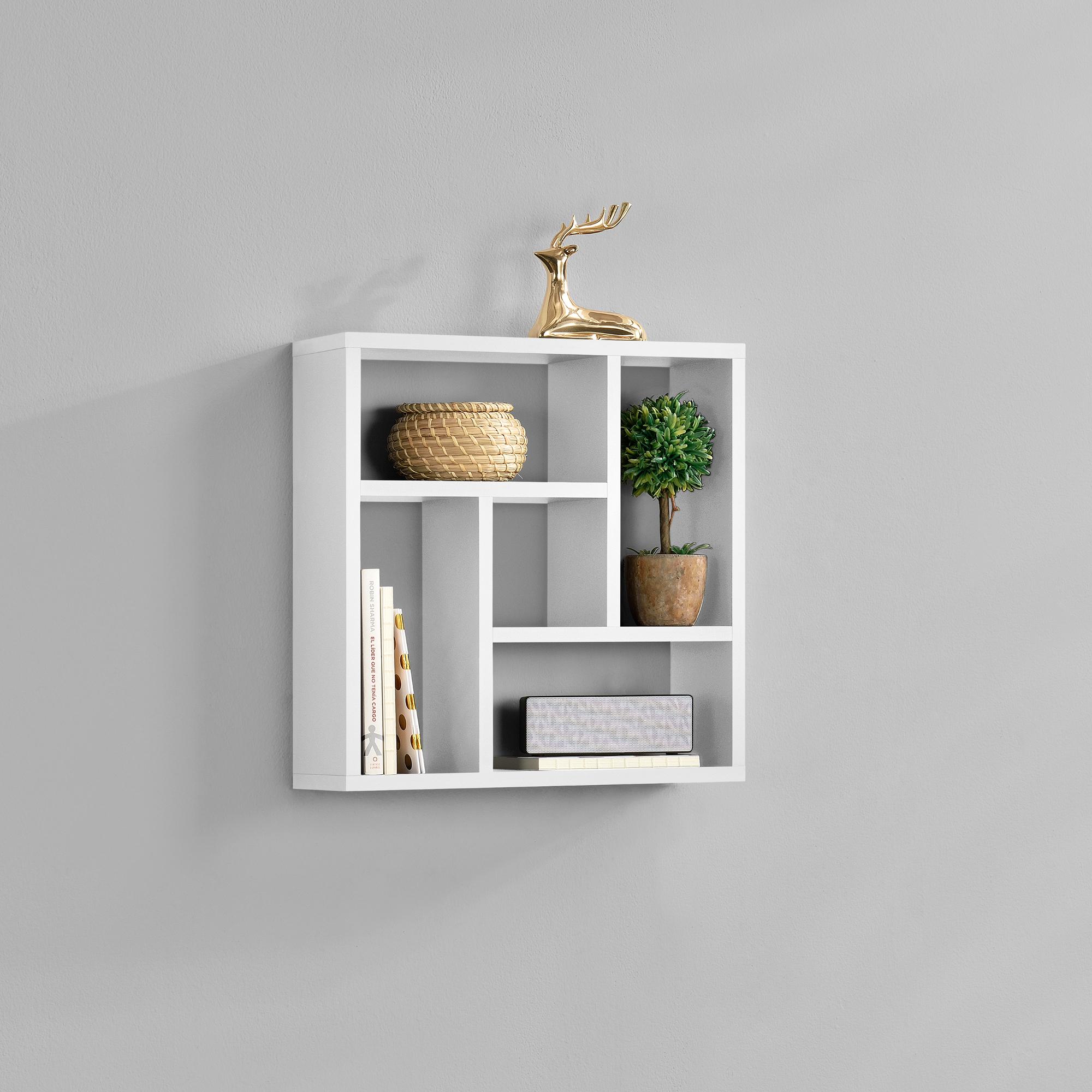 [en.casa]® Designová police na zeď - bílá
