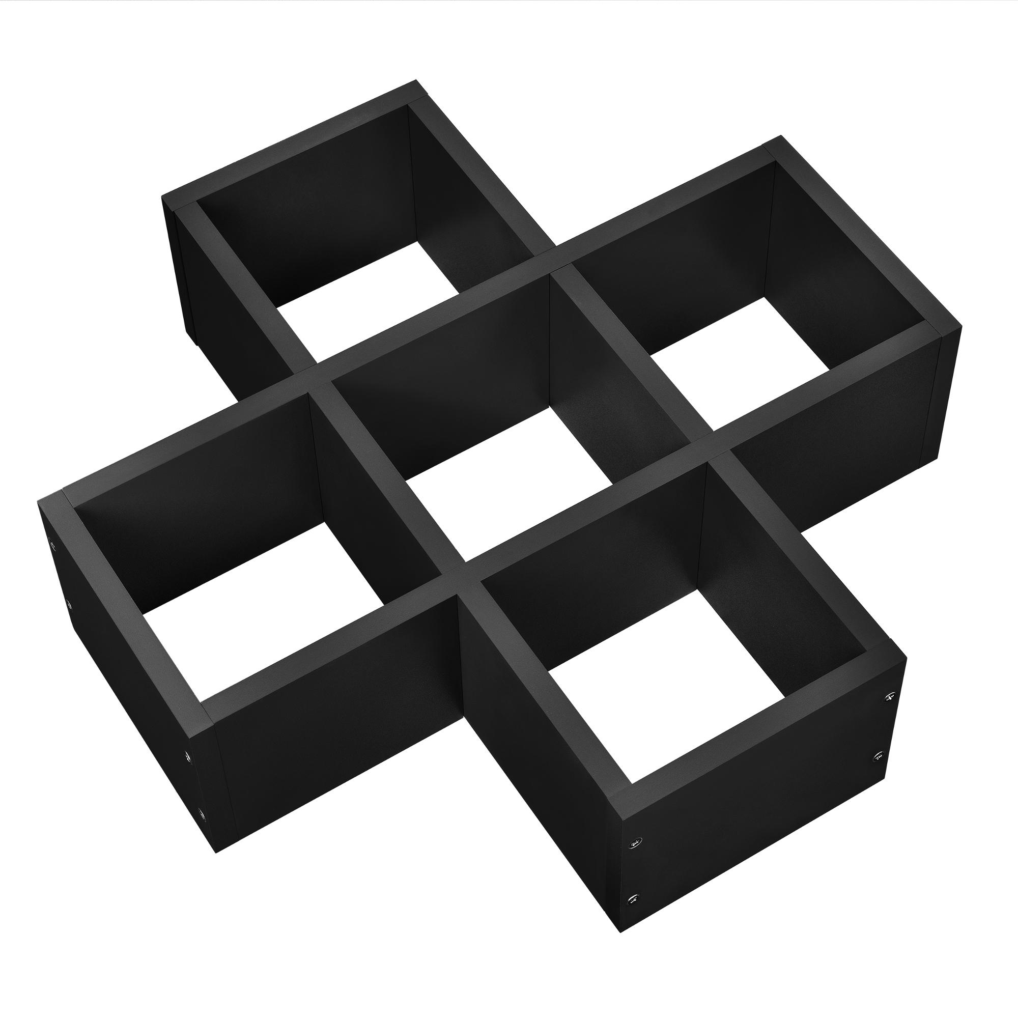 [en.casa]® Designová police na zeď - černá - model 16