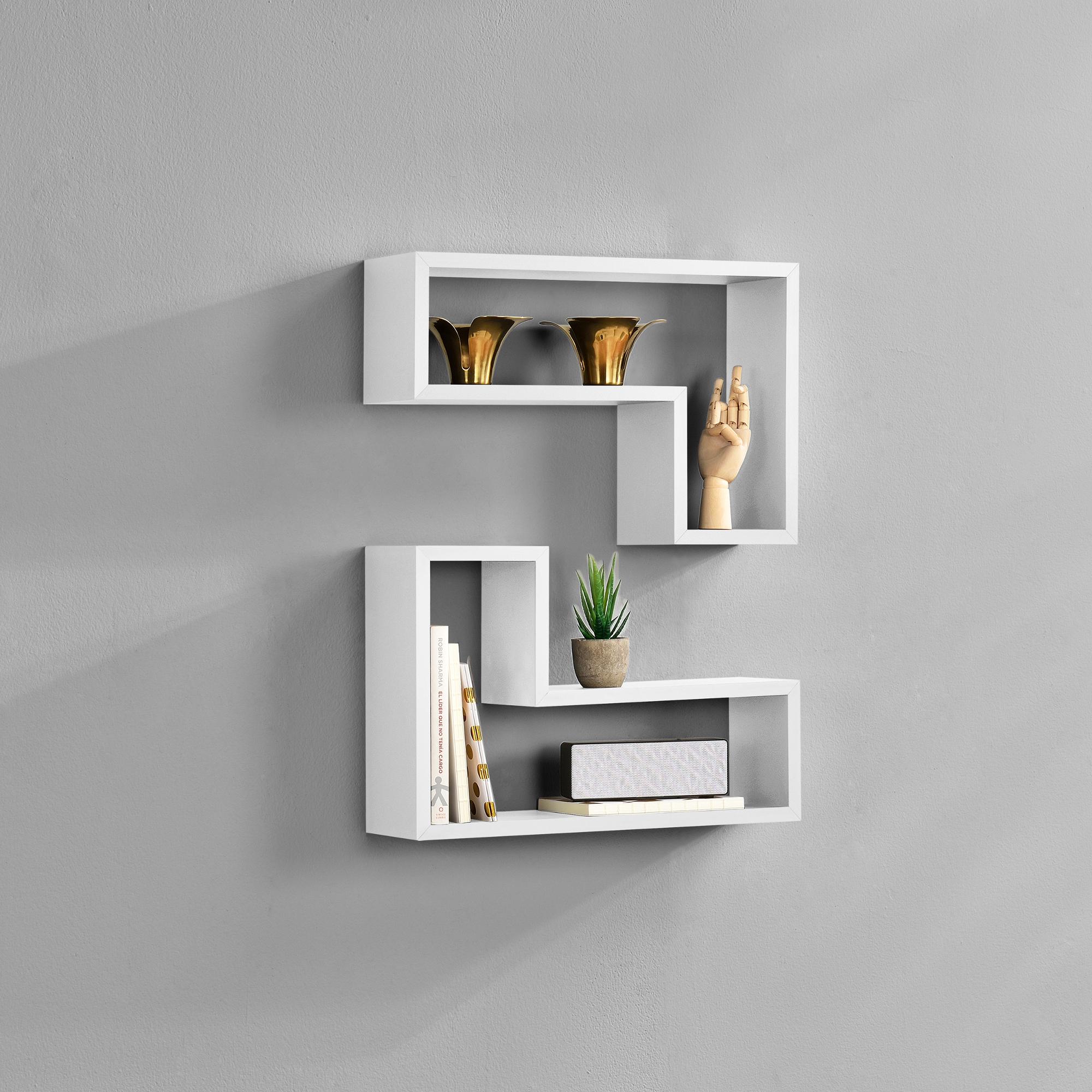 [en.casa]® Dvoudílná sada designových polic na zeď - bílá - model 17