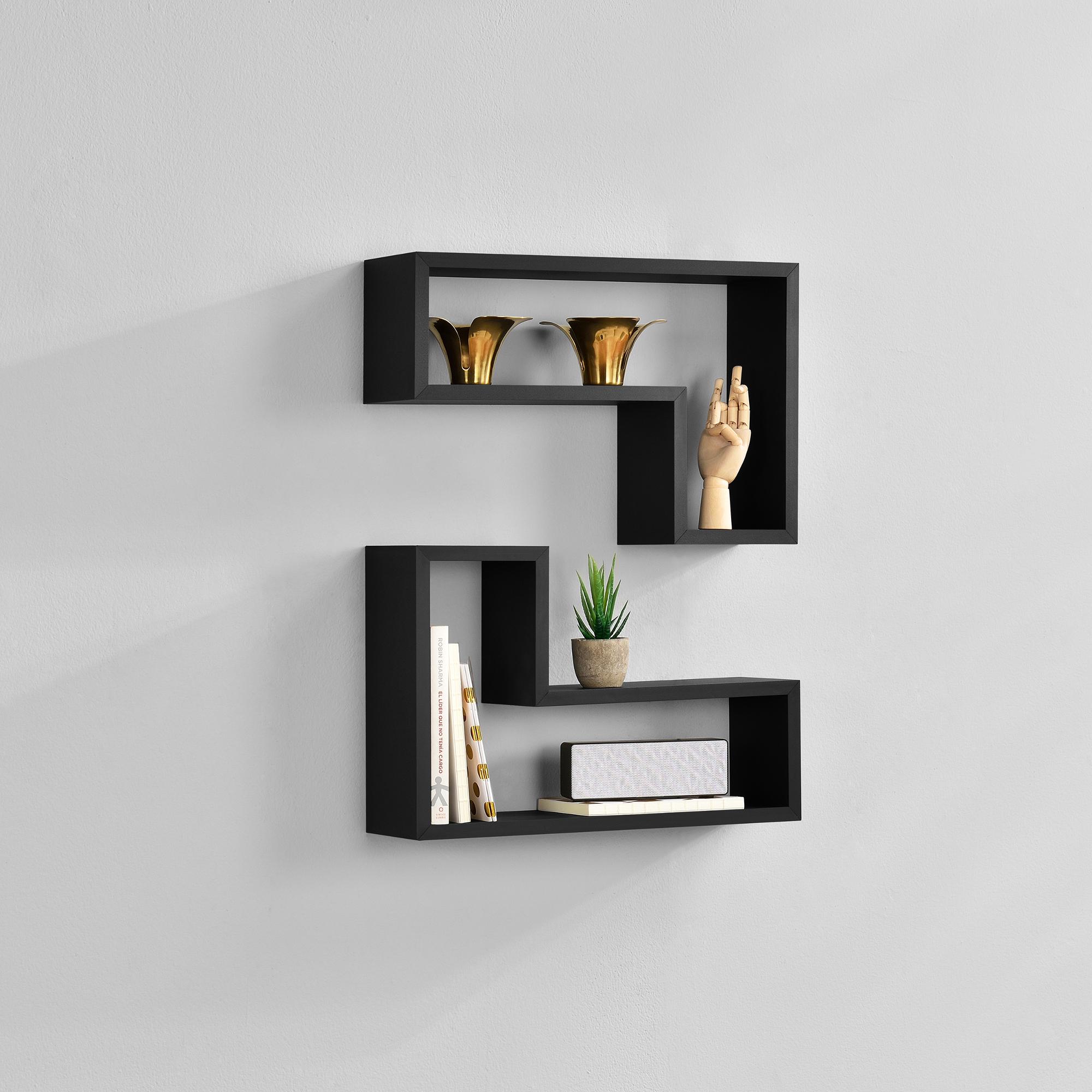 [en.casa]® Dvoudílná sada designových polic na zeď - černá - model 17