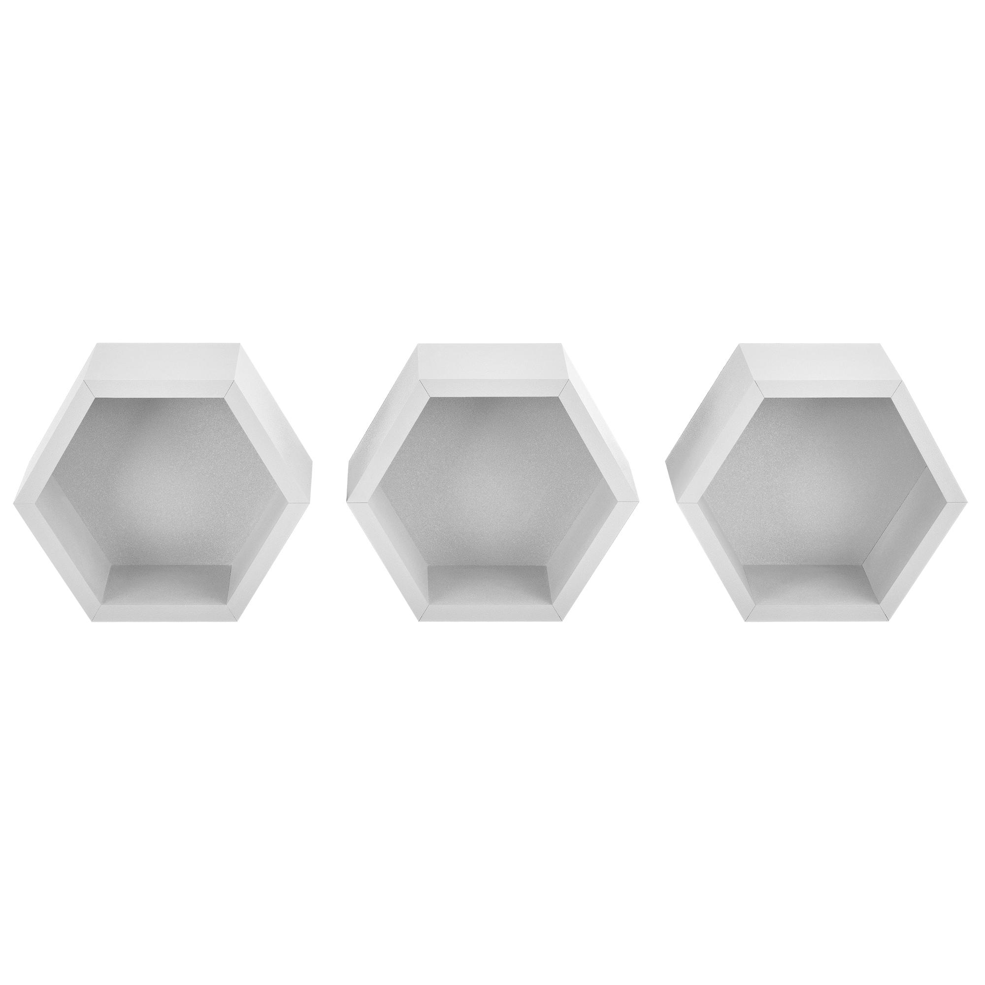 ® 3er Set Sechseck Regal Wandregal Hängeregal Design Wabe Lounge Weiß en.casa
