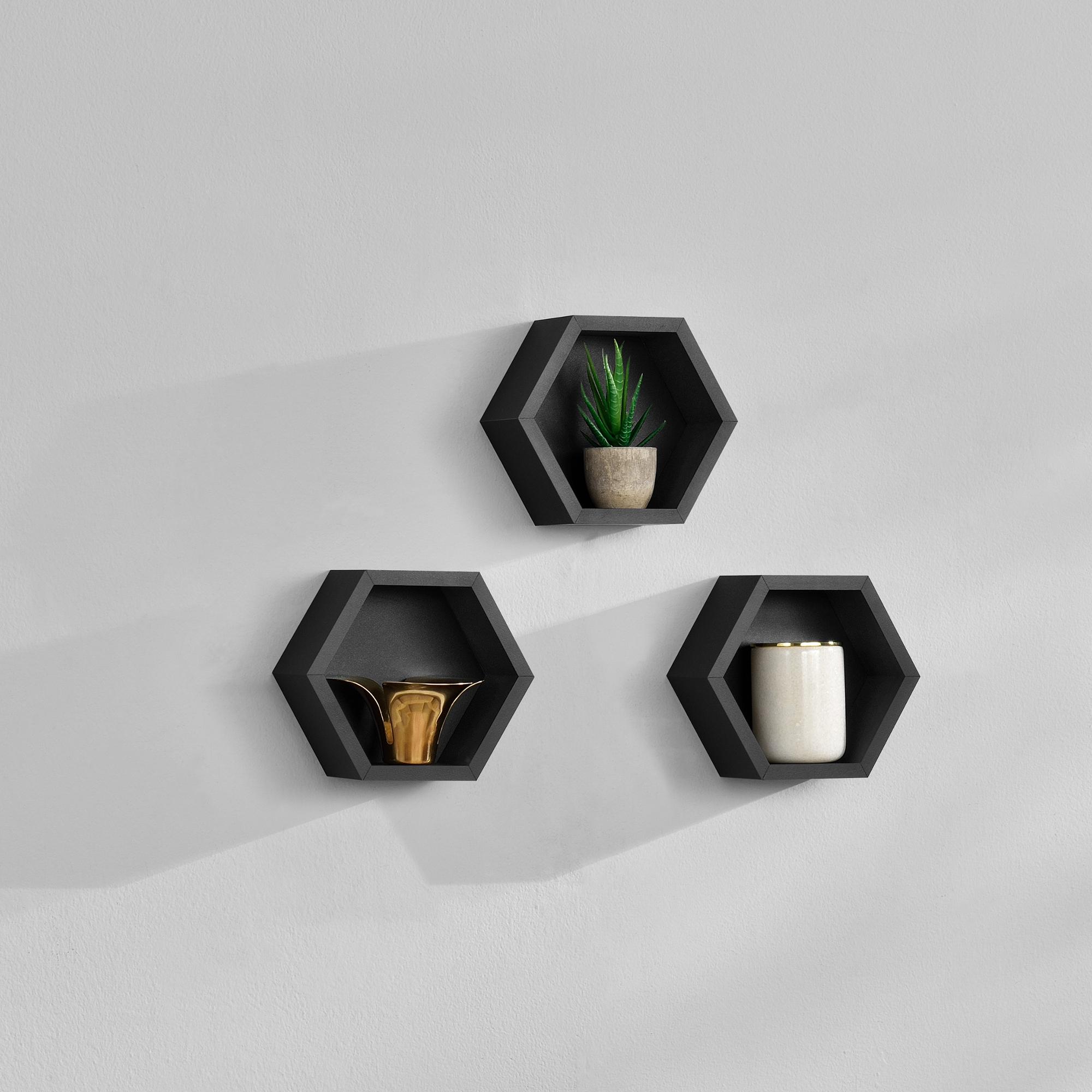 [en.casa]® Třídílná sada designových polic na zeď - černá - model 21