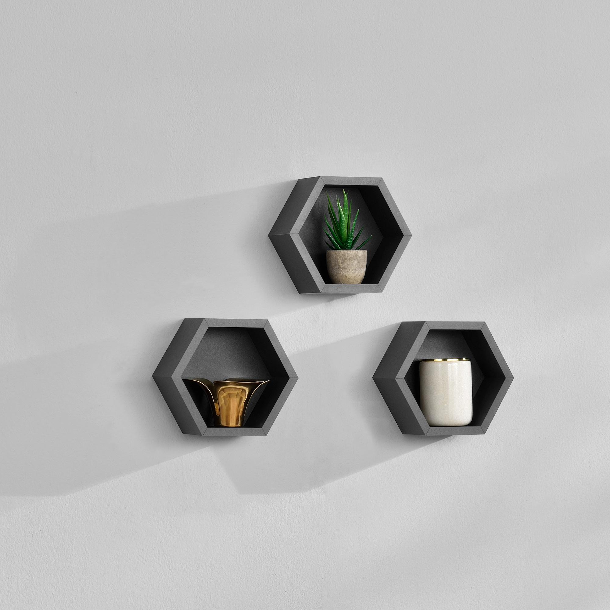 [en.casa]® Třídílná sada designových polic na zeď - tmavě šedá - model 21